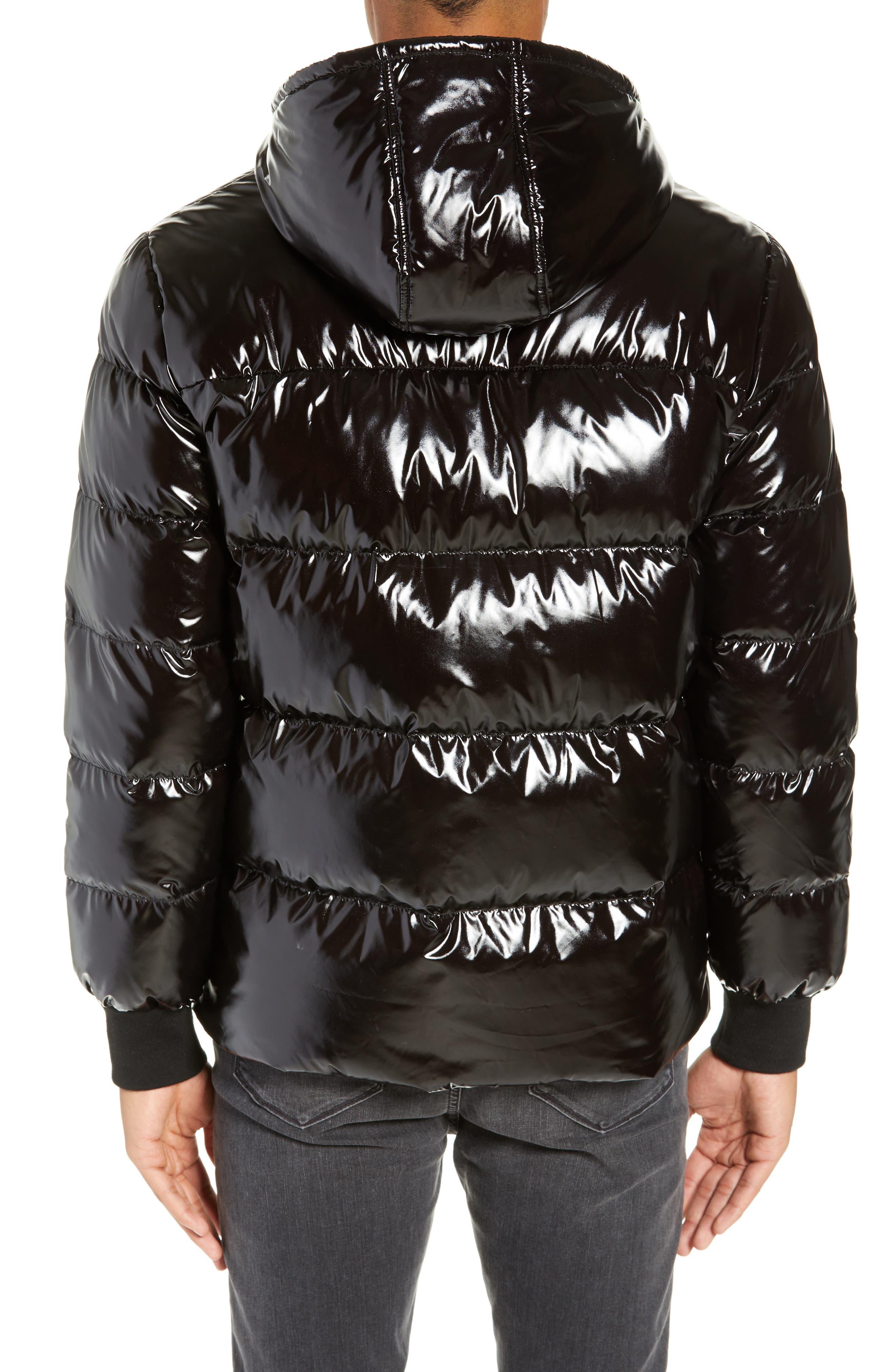 Hooded Puffer Jacket,                             Alternate thumbnail 2, color,                             BLACK ROCK