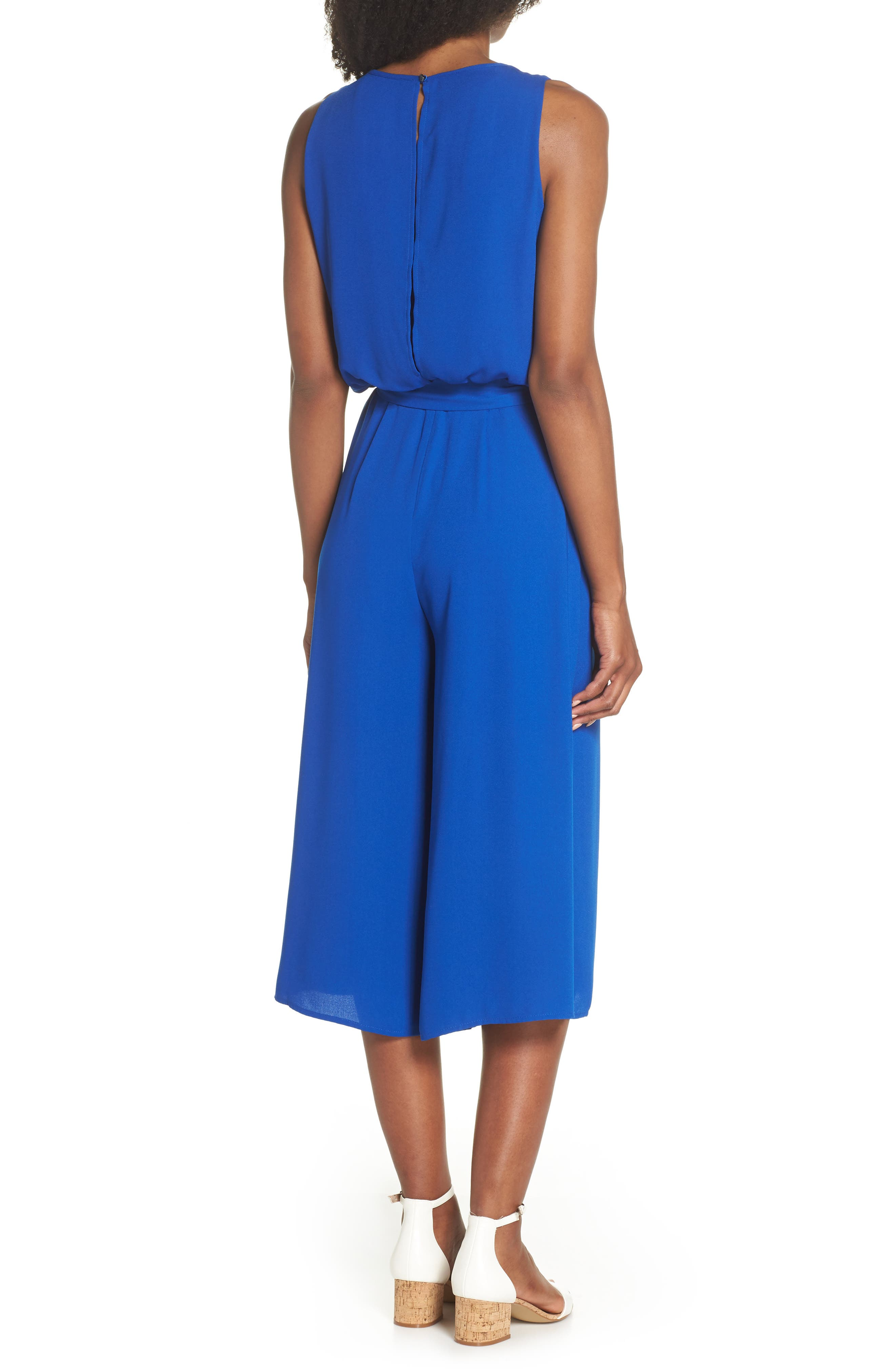 Moss Crepe Wide Leg Jumpsuit,                             Alternate thumbnail 2, color,                             ROYAL