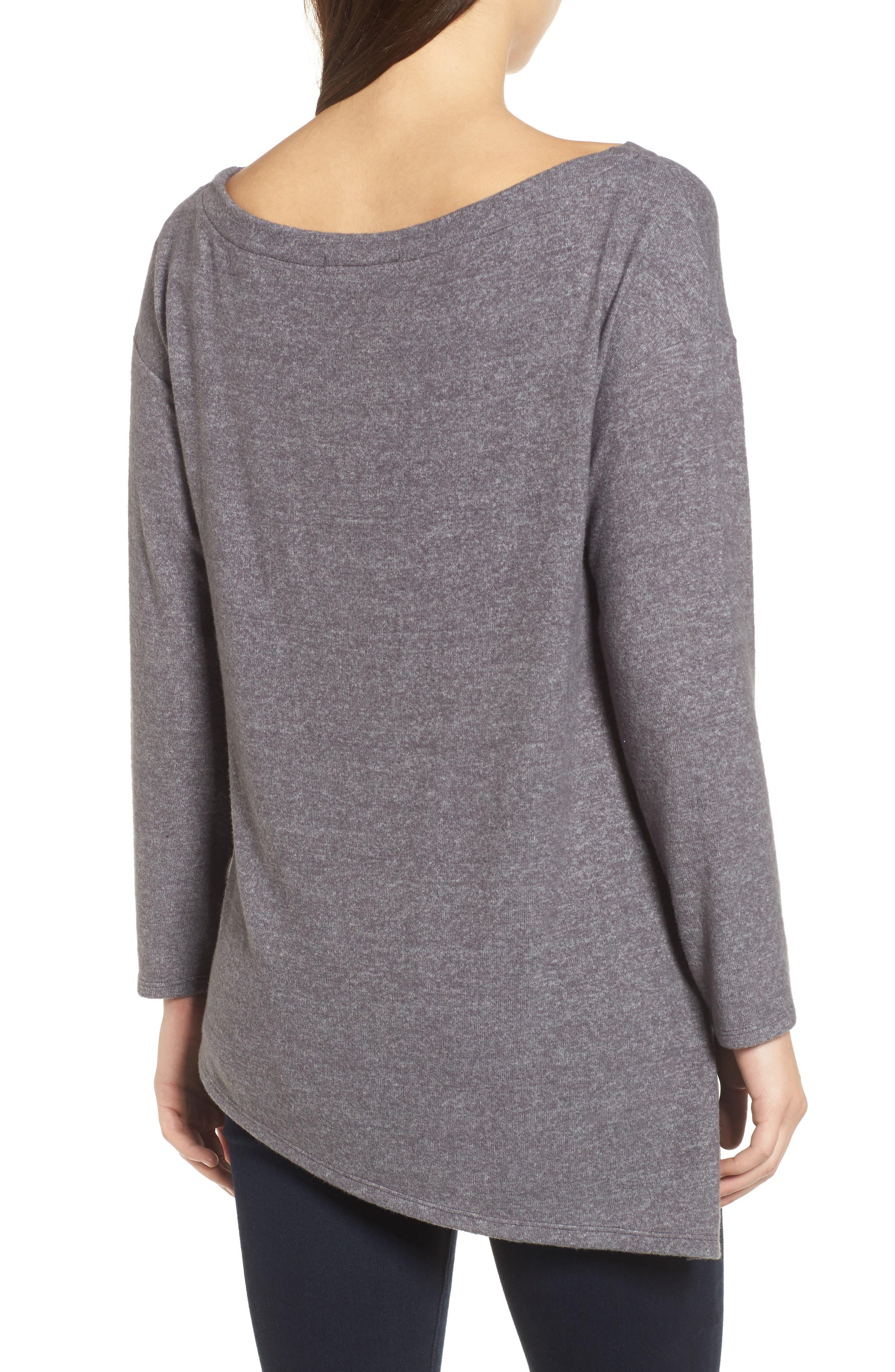 Asymmetrical Cozy Fleece Convertible Top,                             Alternate thumbnail 3, color,                             020