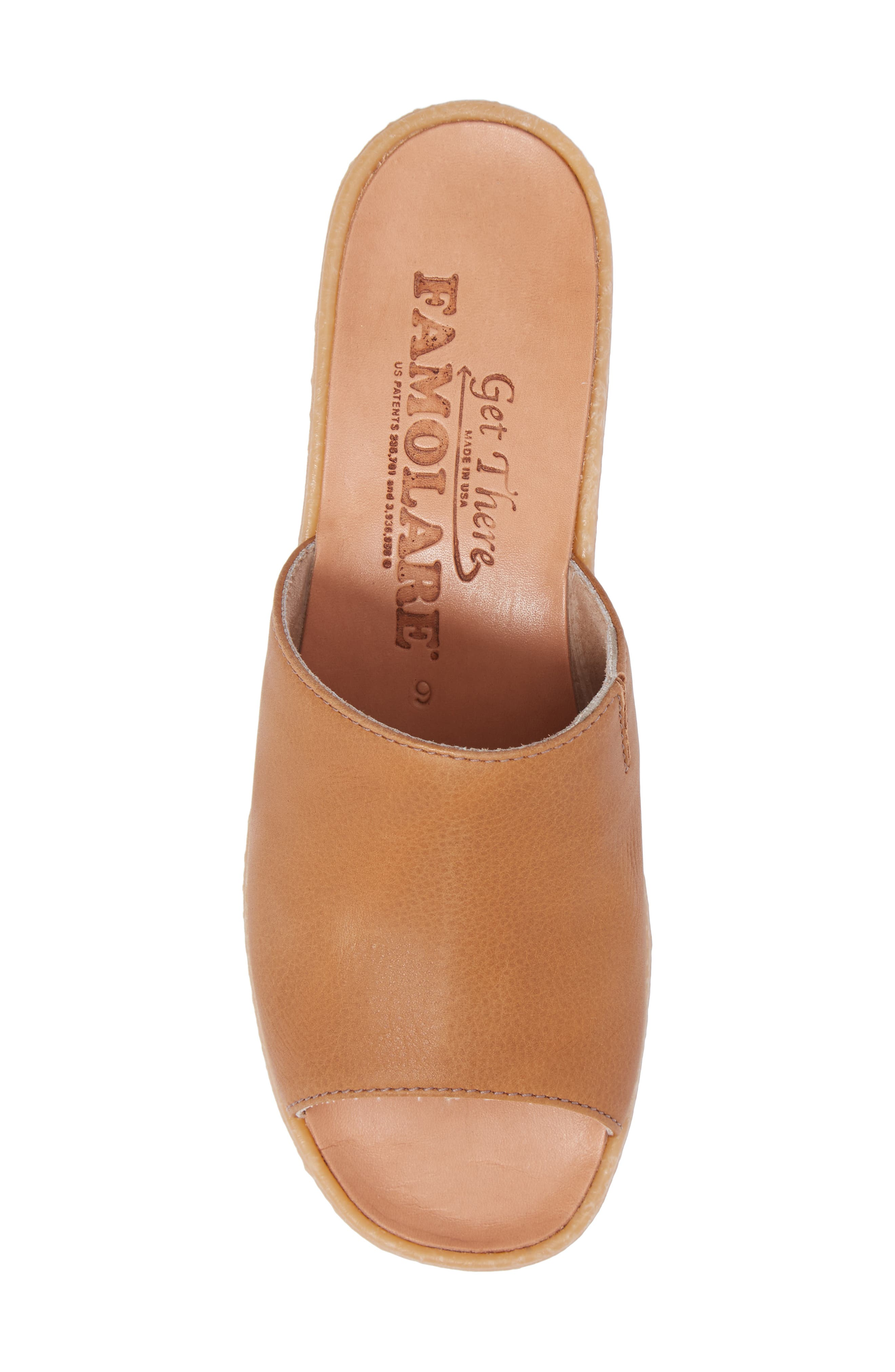 Slide N Sleek Wedge Slide Sandal,                             Alternate thumbnail 5, color,                             COGNAC LEATHER