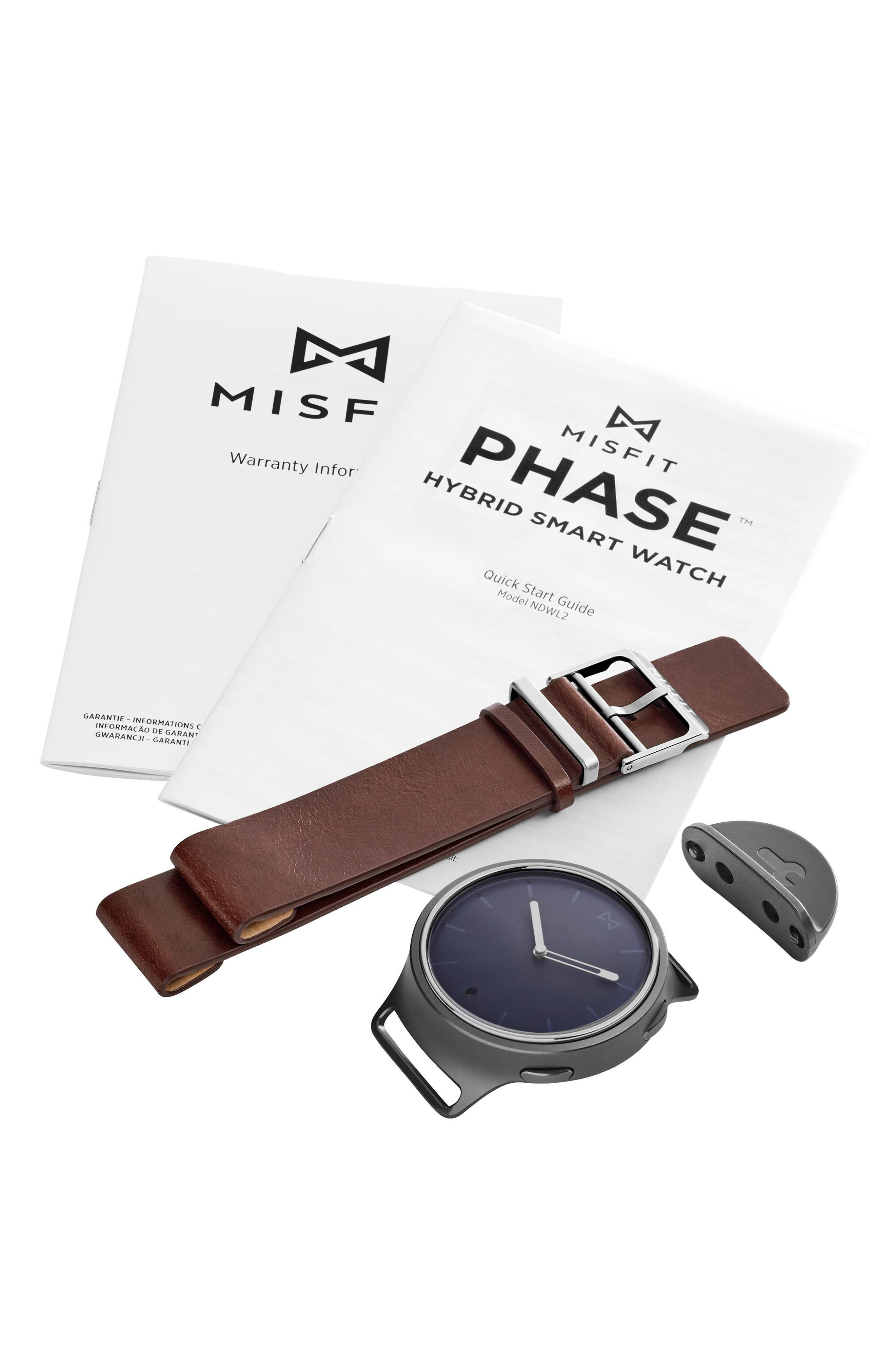 Phase Leather Strap Smart Watch, 40mm,                             Alternate thumbnail 15, color,