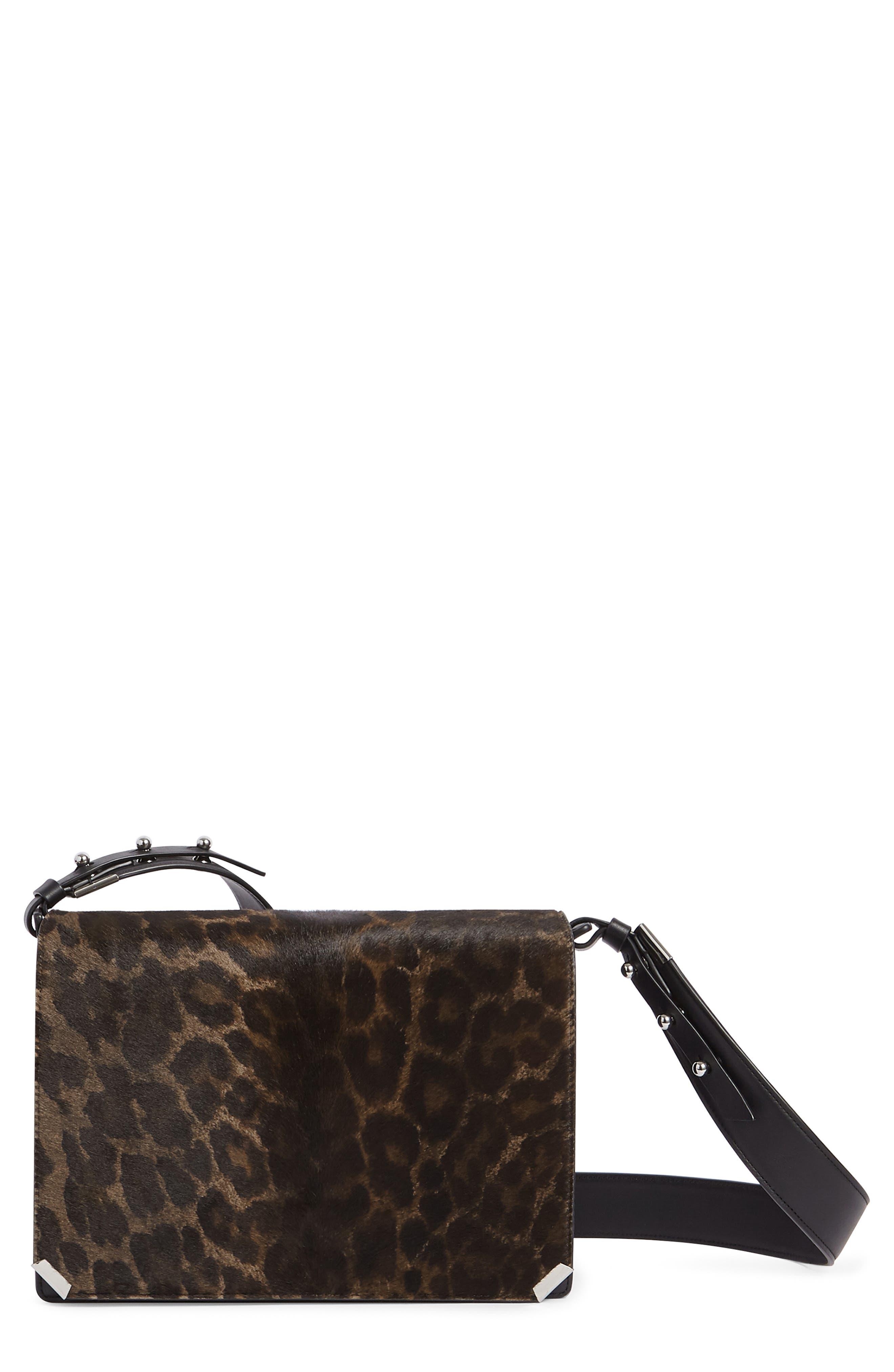 Vincent Genuine Calf Hair Shoulder Bag,                         Main,                         color, LEOPARD/ BLACK
