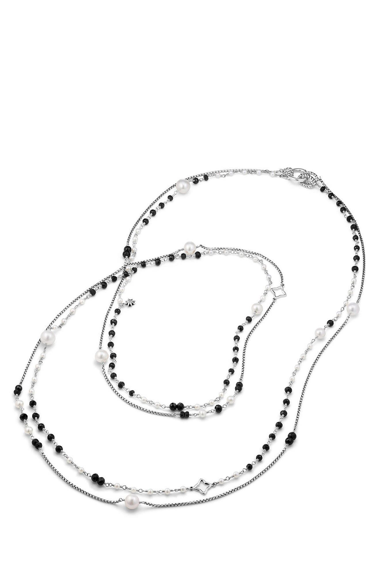 Solari Two Row Pearl Chain Necklace,                             Alternate thumbnail 2, color,                             PEARL/ BLACK SPINEL