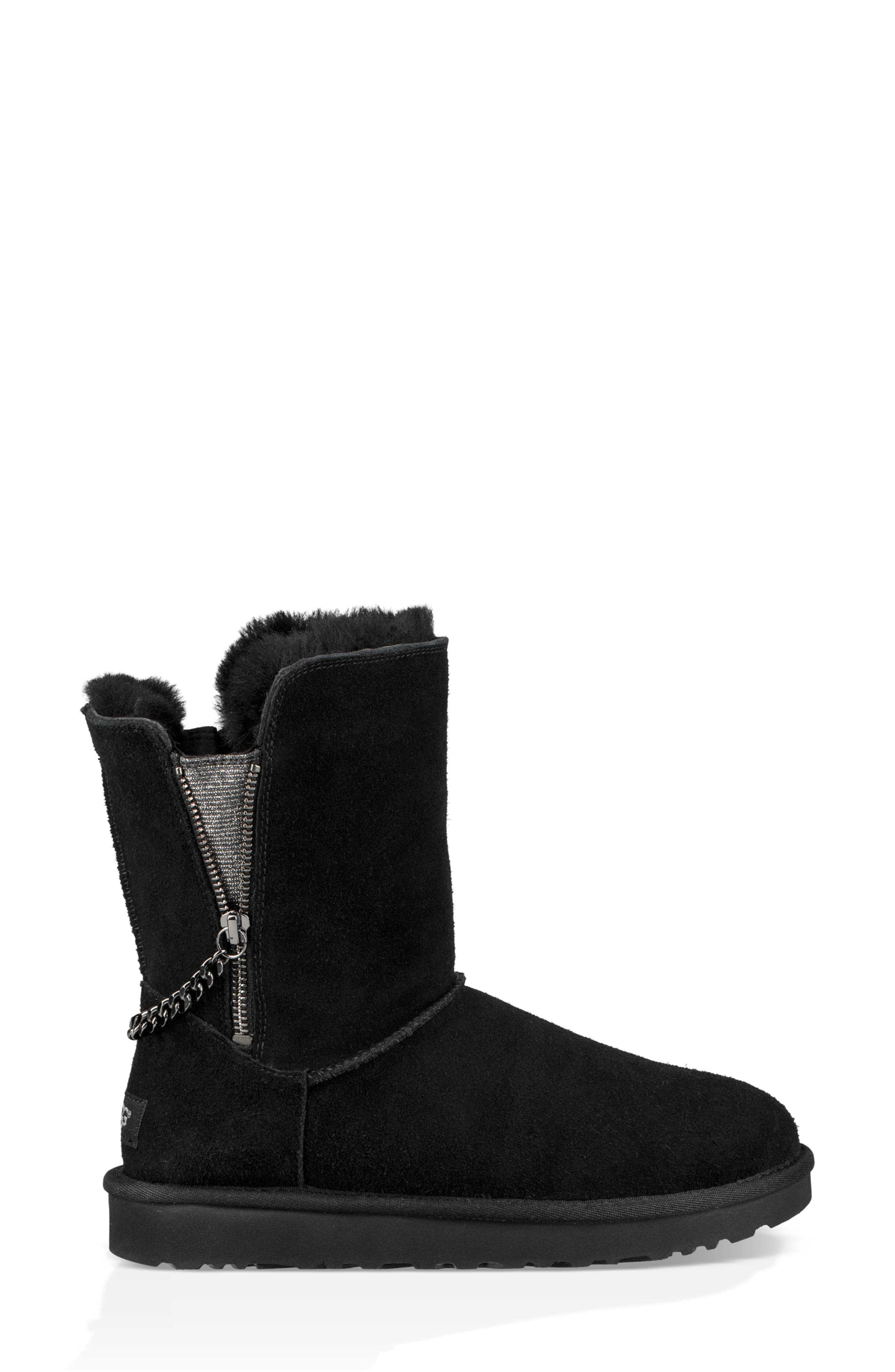 Classic Sparkle Zip Bootie,                             Alternate thumbnail 6, color,                             BLACK SUEDE