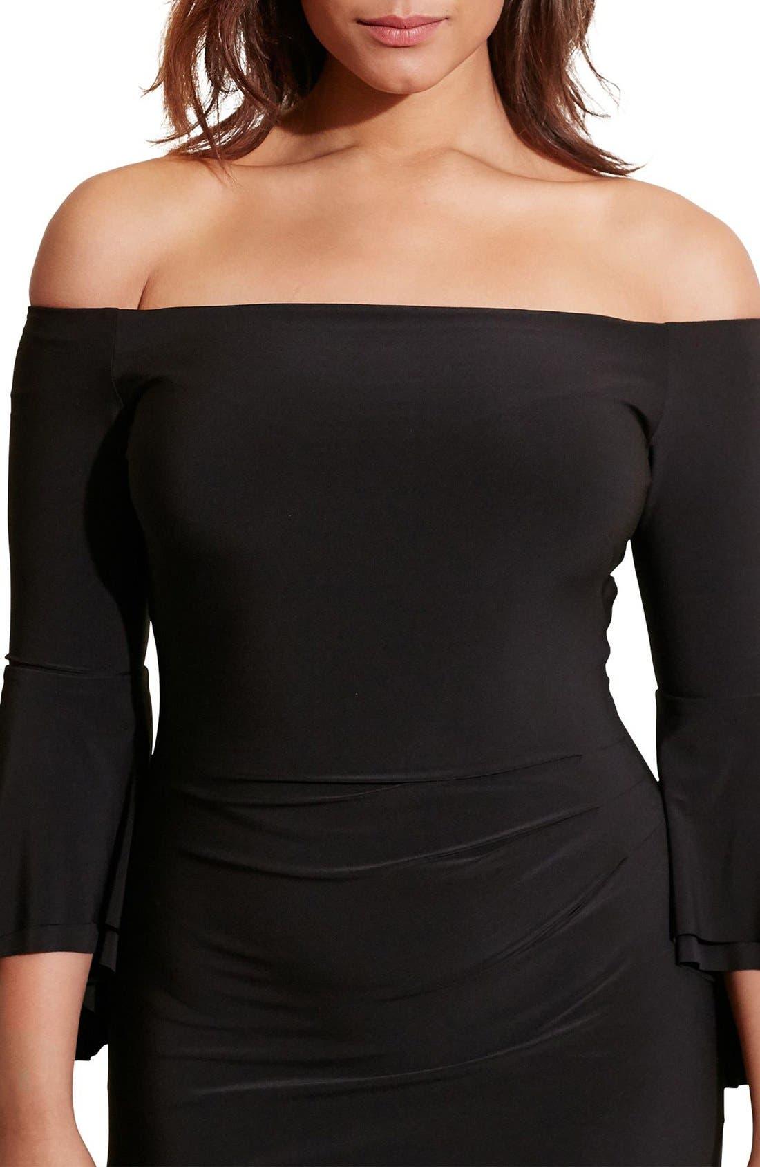 Off the Shoulder Jersey Sheath Dress,                             Alternate thumbnail 6, color,                             001