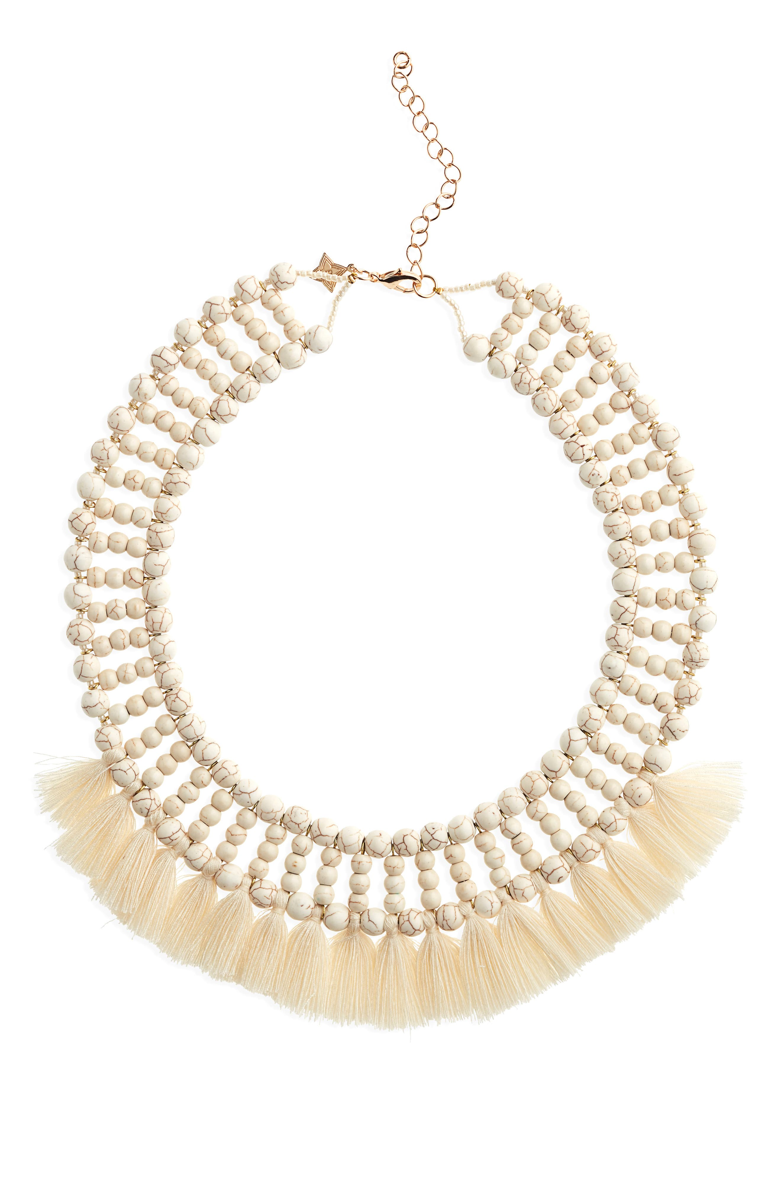 Howlite Tassel Collar Necklace,                         Main,                         color, 100