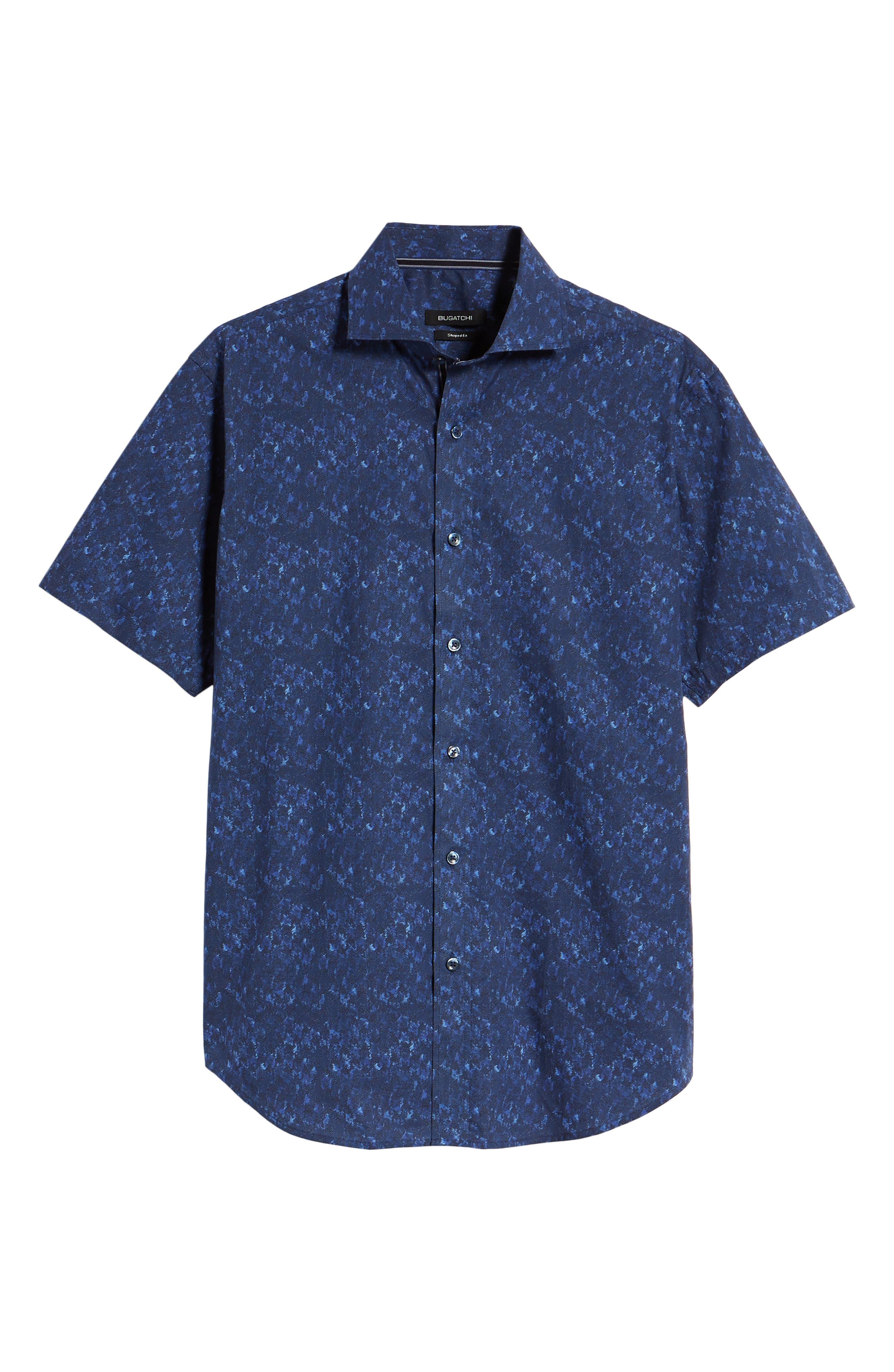 Shaped Fit Print Sport Shirt,                             Alternate thumbnail 5, color,                             408