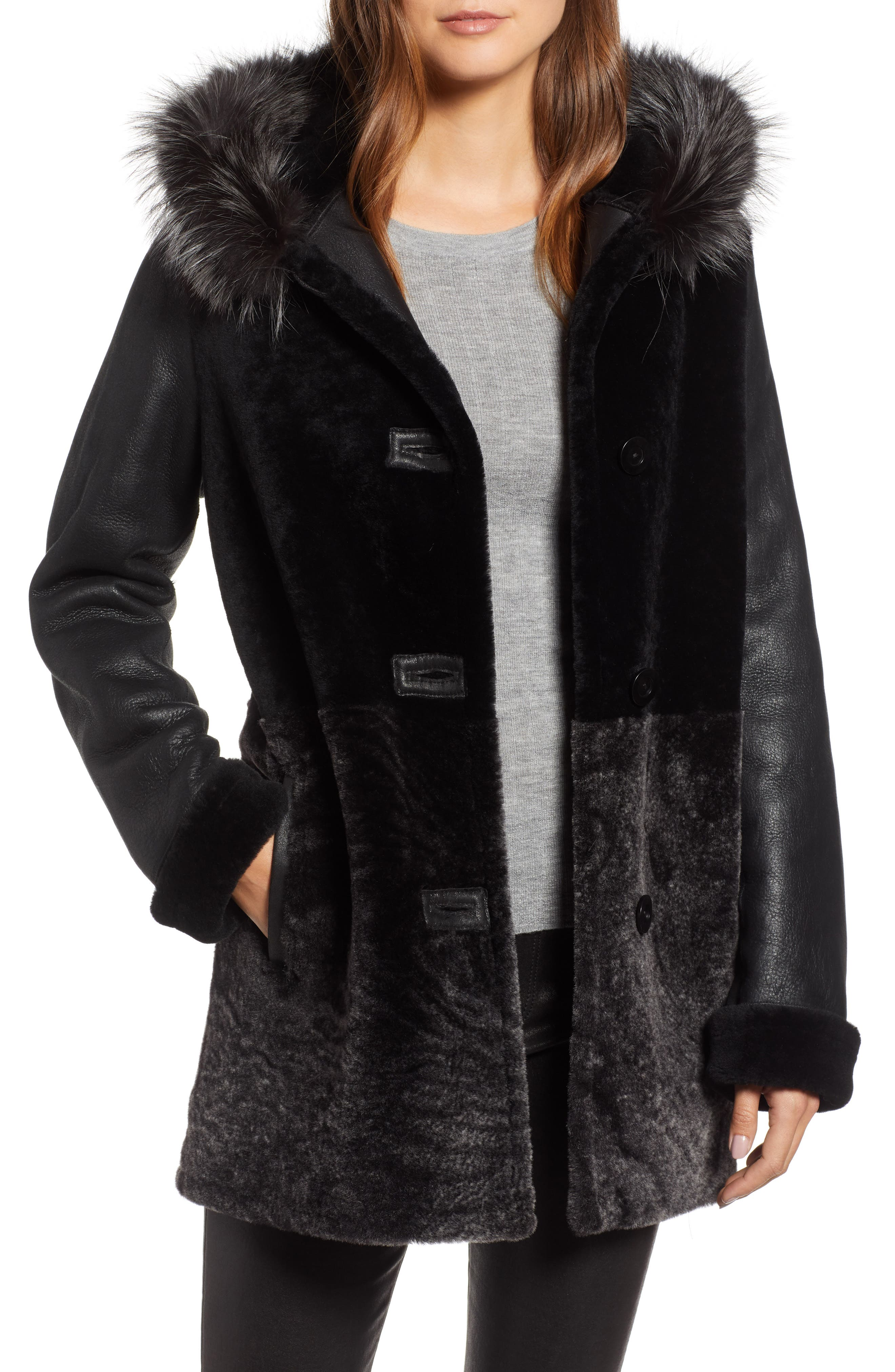 Blue Duck Genuine Shearling Coat With Genuine Fox Fur Trim, Black