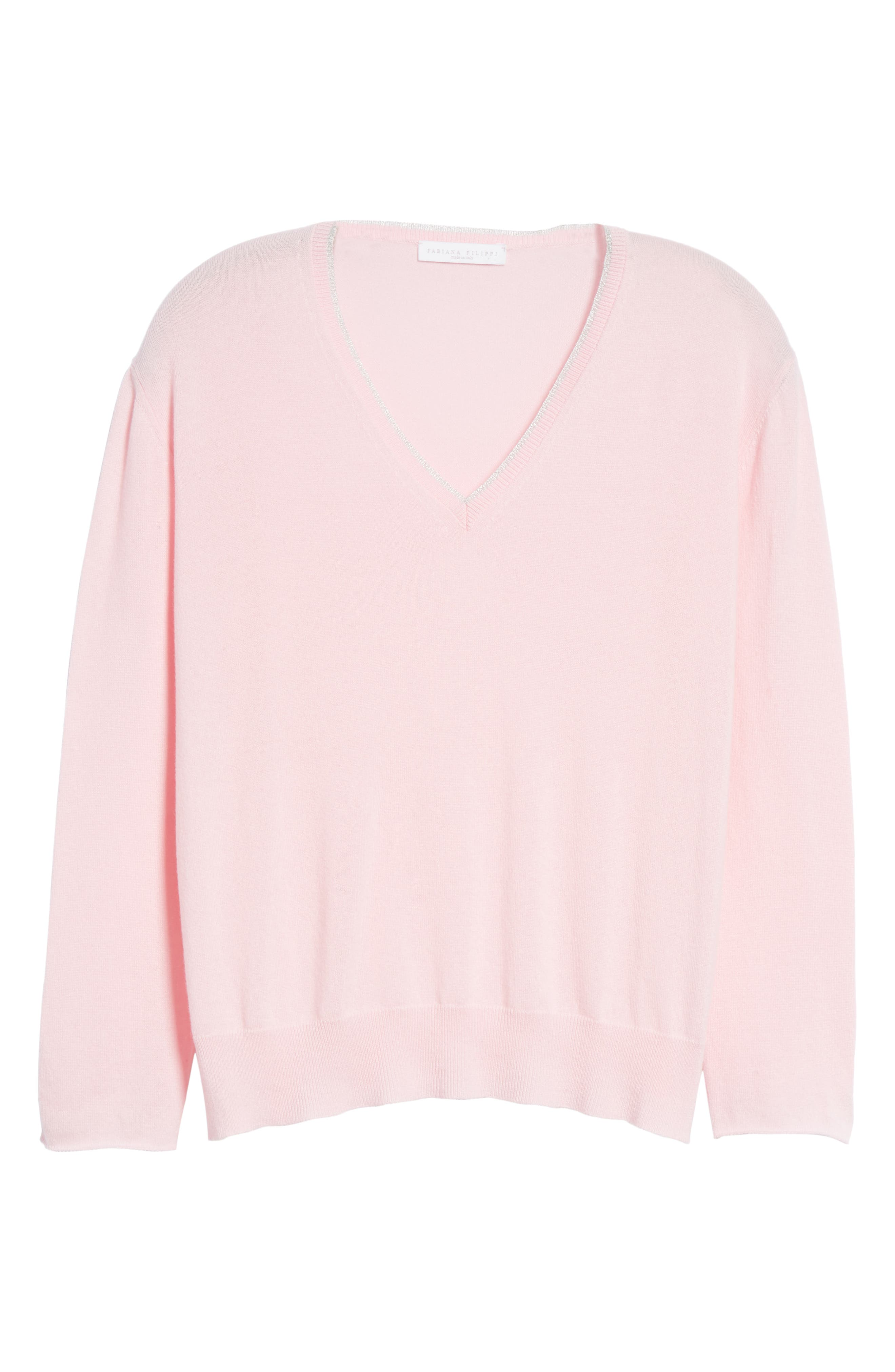 Metallic Trim Cashmere Sweater,                             Alternate thumbnail 6, color,                             PINK