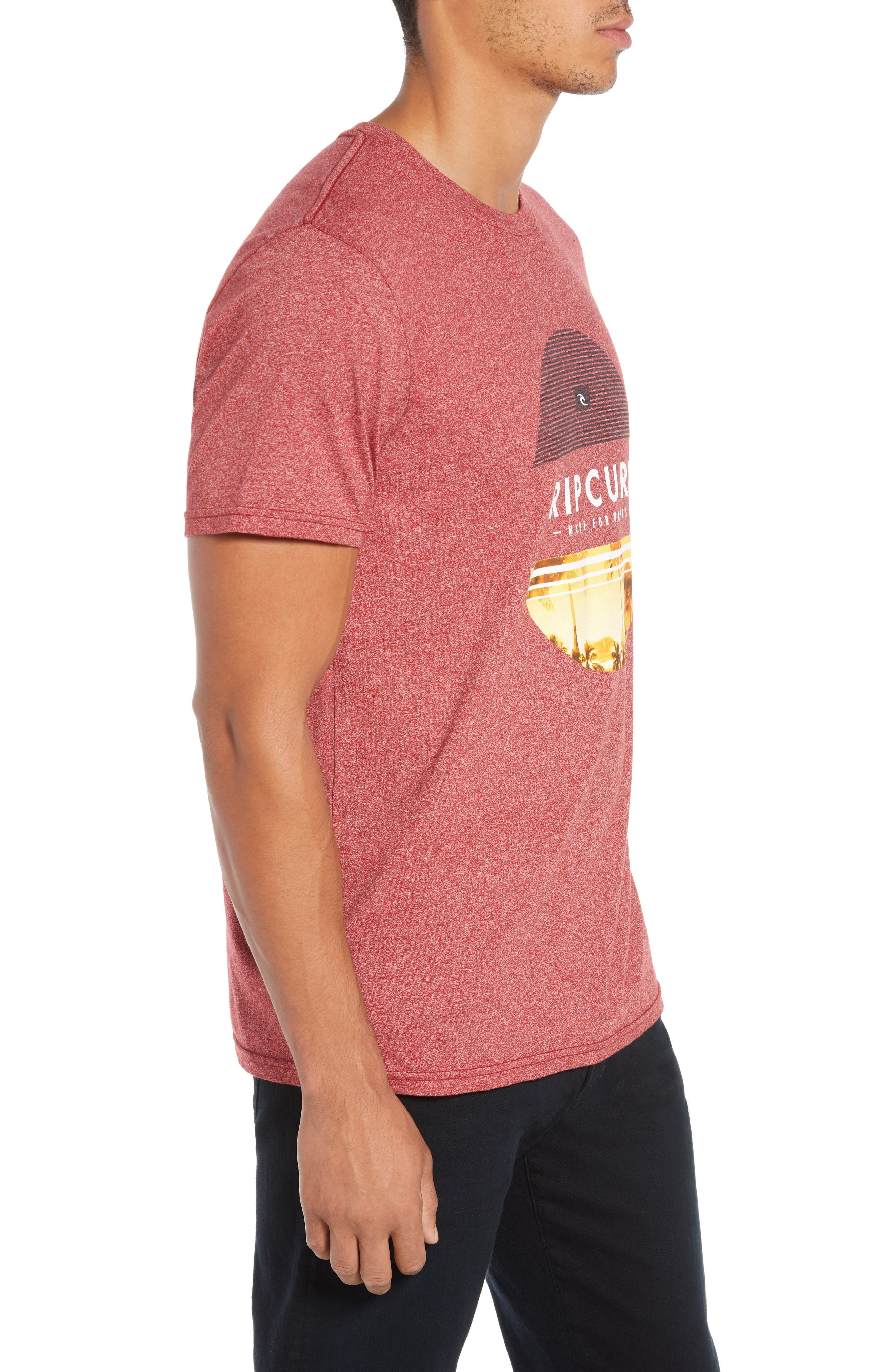 Summer Days Mock Twist T-Shirt,                             Alternate thumbnail 3, color,                             RED HEATHER
