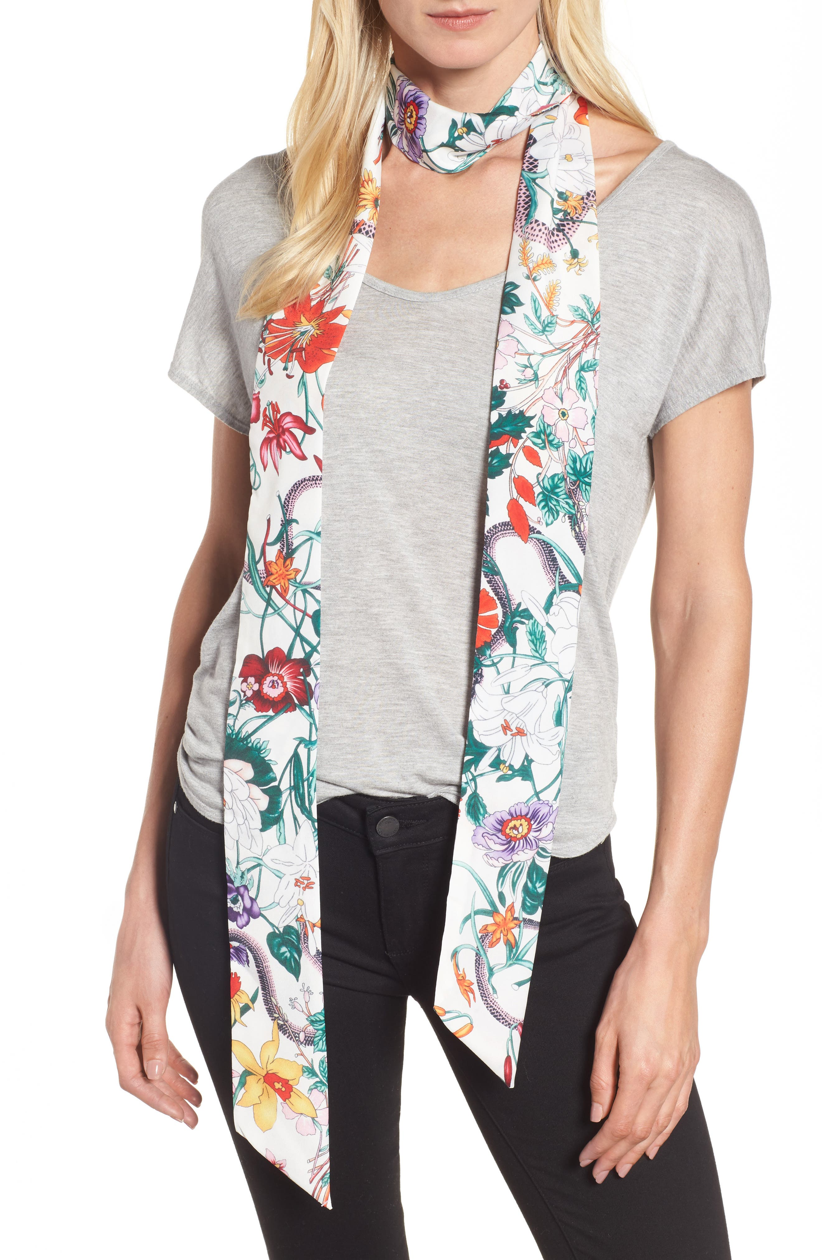 Floral Print Skinny Scarf,                             Main thumbnail 1, color,