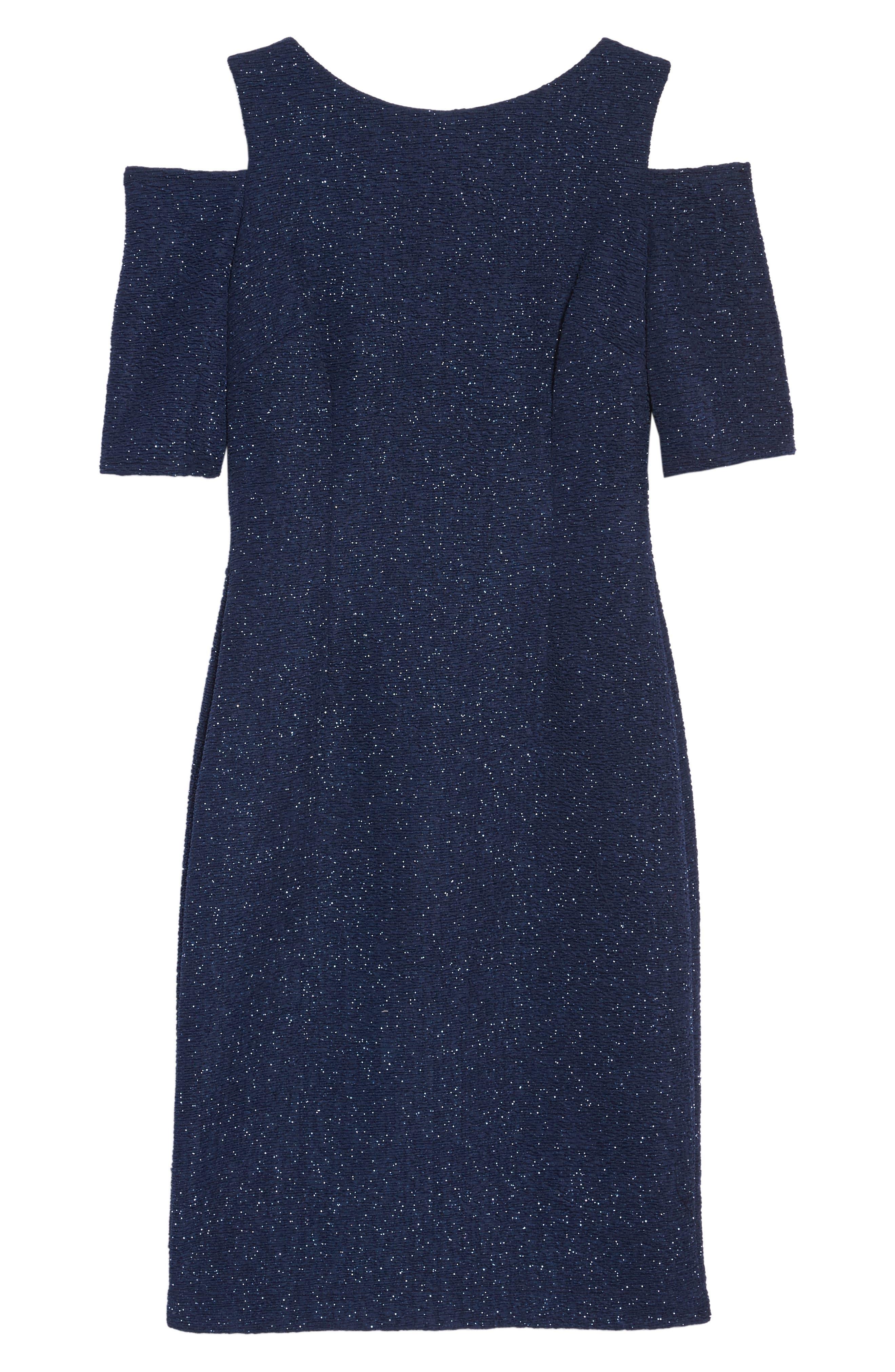 Cold Shoulder Sparkle Knit Sheath Dress,                             Alternate thumbnail 11, color,