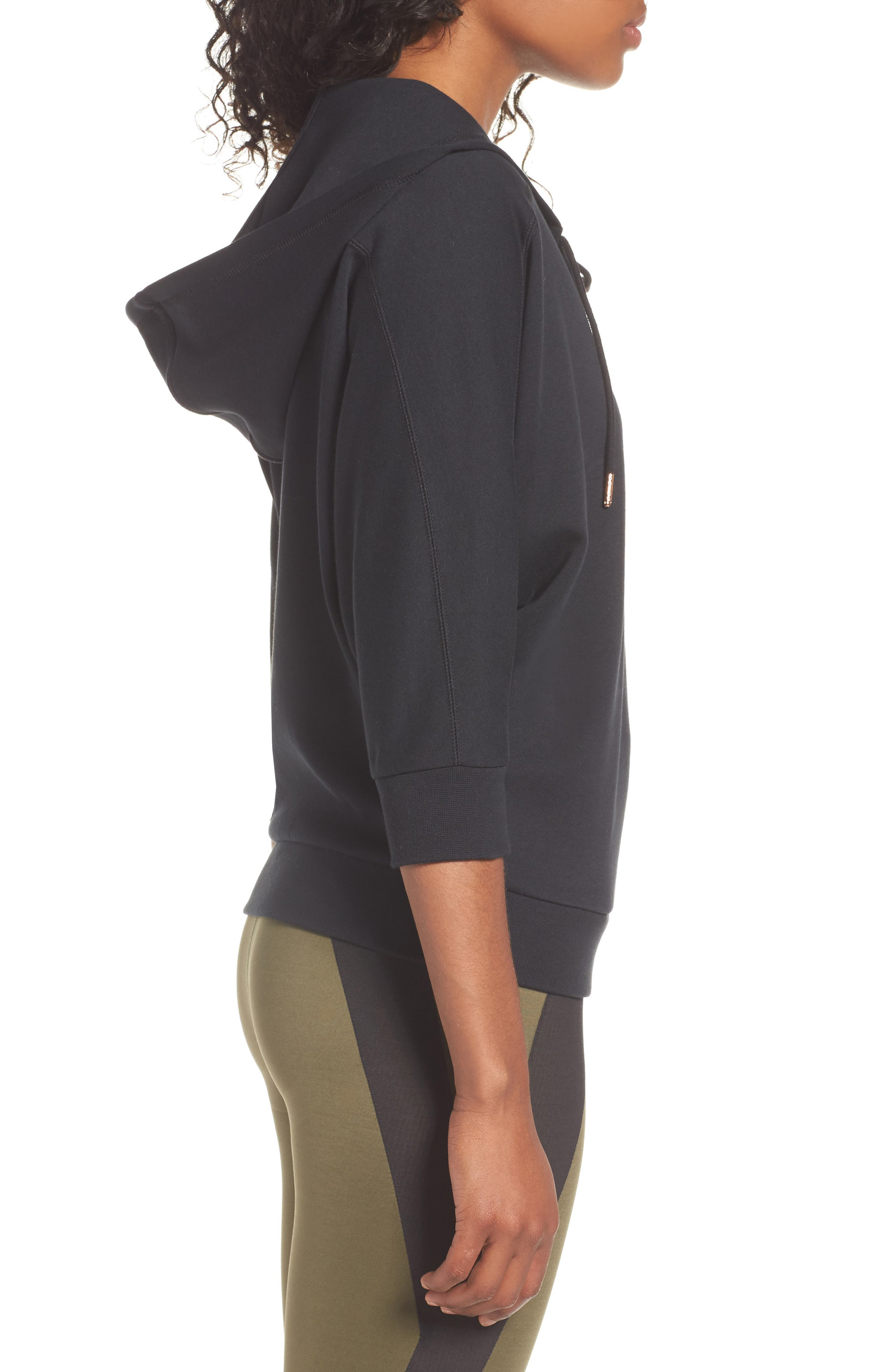Yogini Lace-Up Hoodie,                             Alternate thumbnail 3, color,                             001