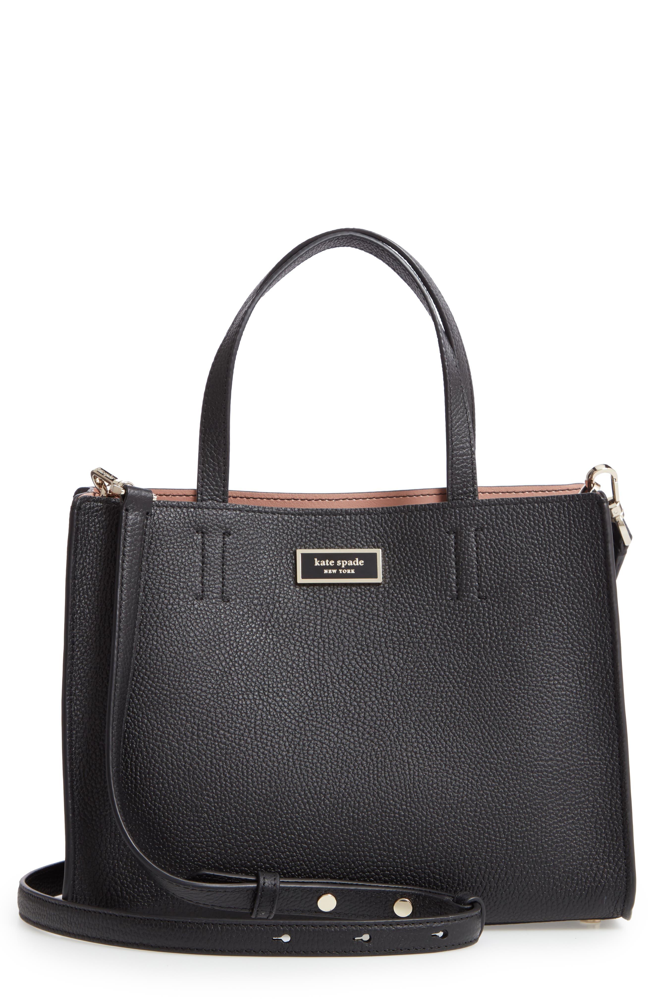 medium sam leather satchel, Main, color, BLACK