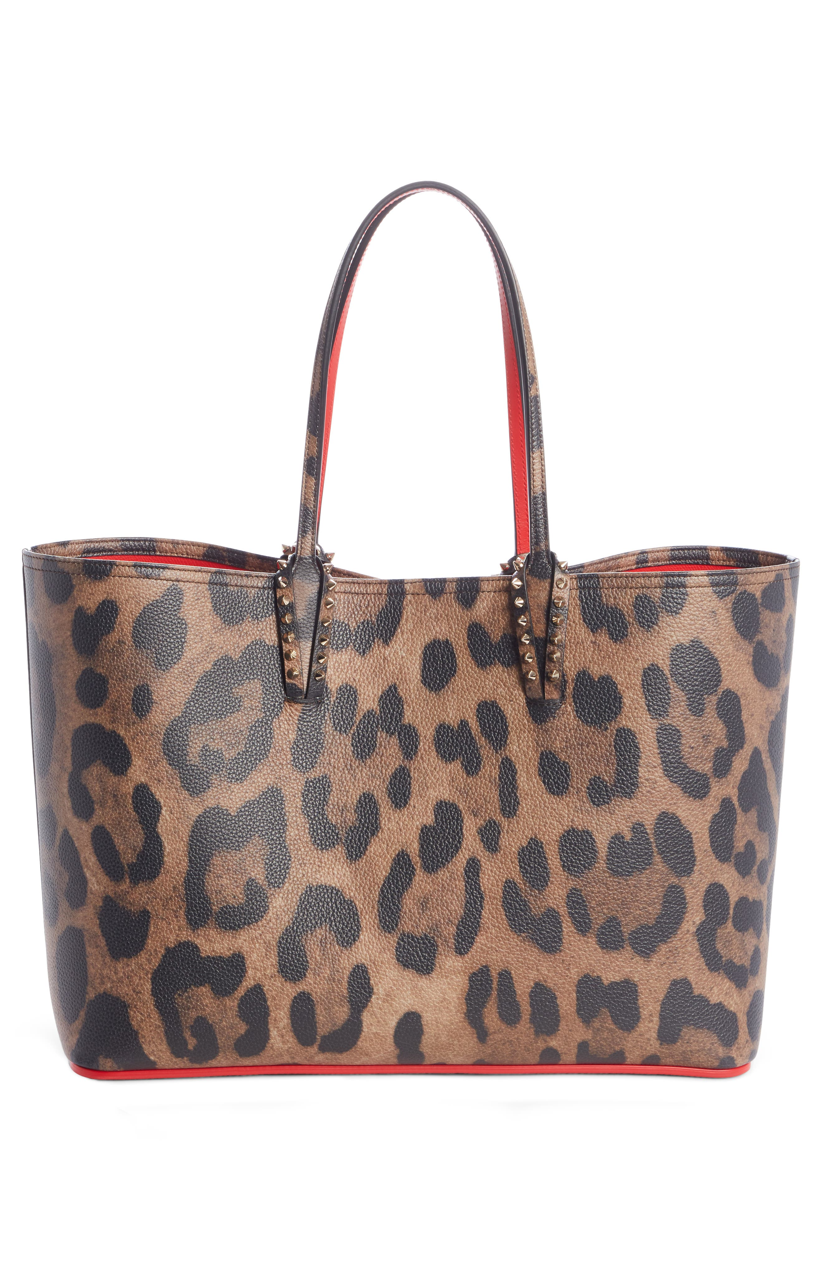 CHRISTIAN LOUBOUTIN,                             Large Cabata Leather Tote,                             Alternate thumbnail 2, color,                             BROWN