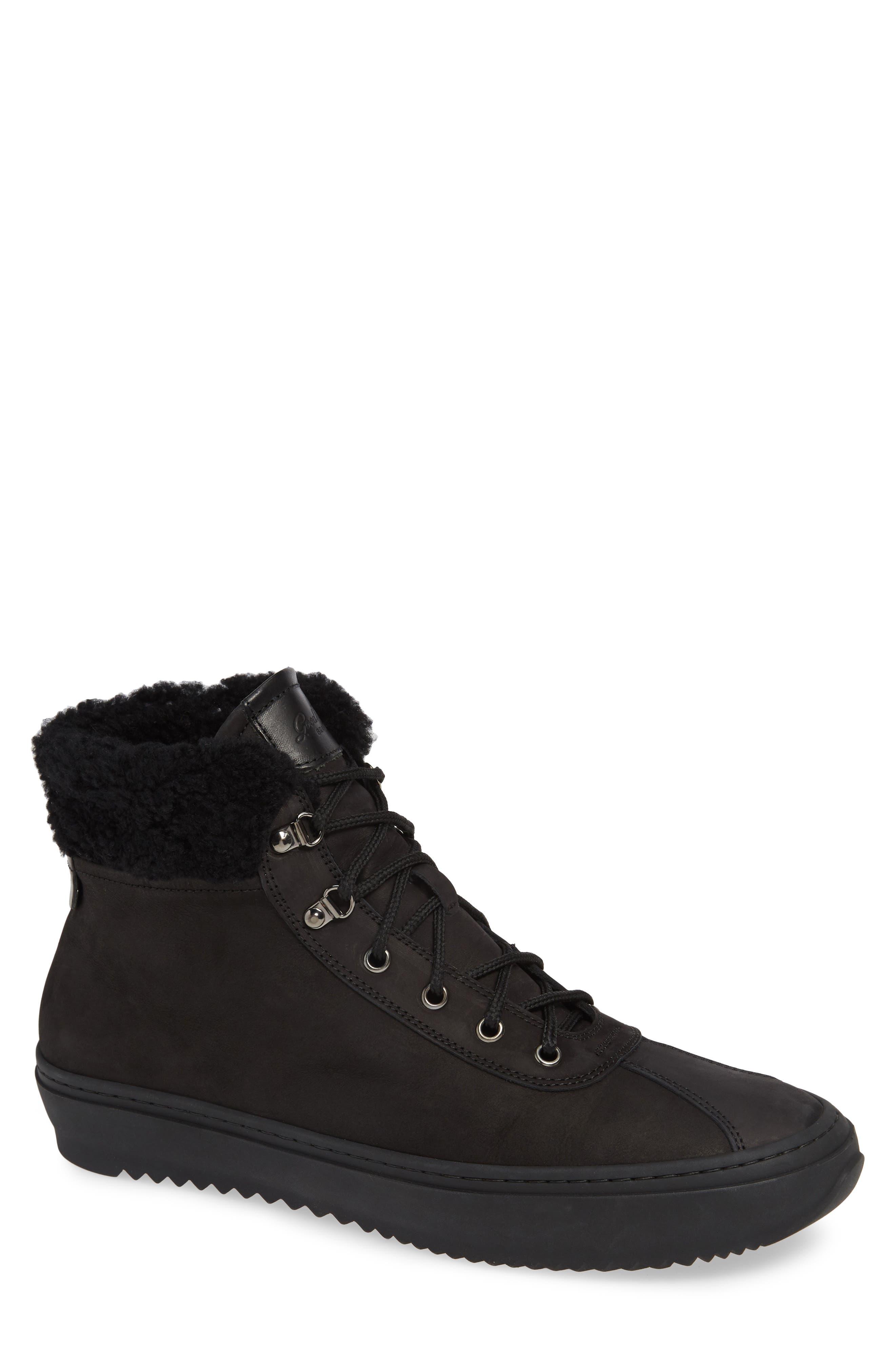 Hiker Street Sneaker,                             Main thumbnail 1, color,                             BLACK LEATHER