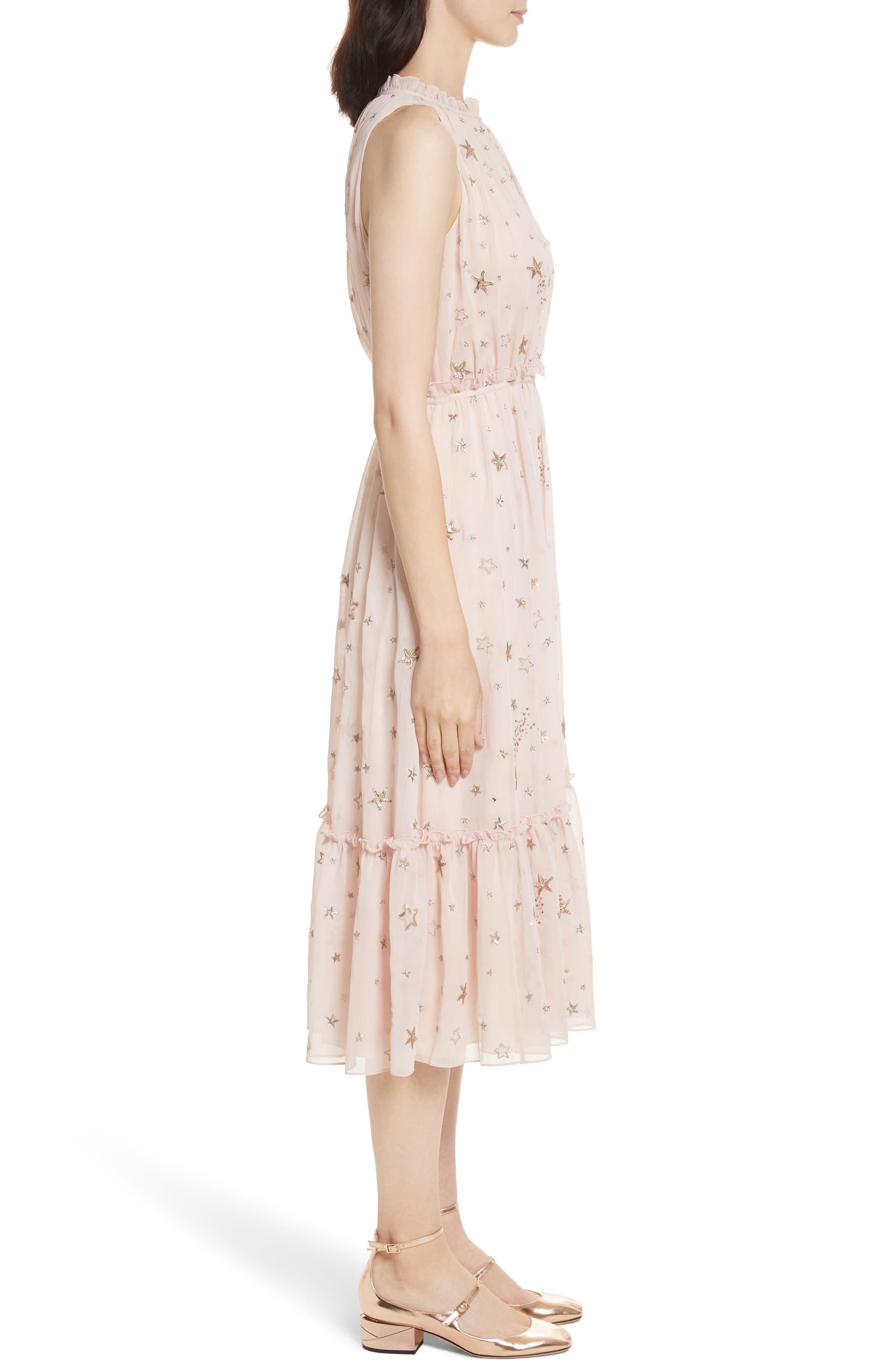 amada embellished midi dress,                             Alternate thumbnail 3, color,