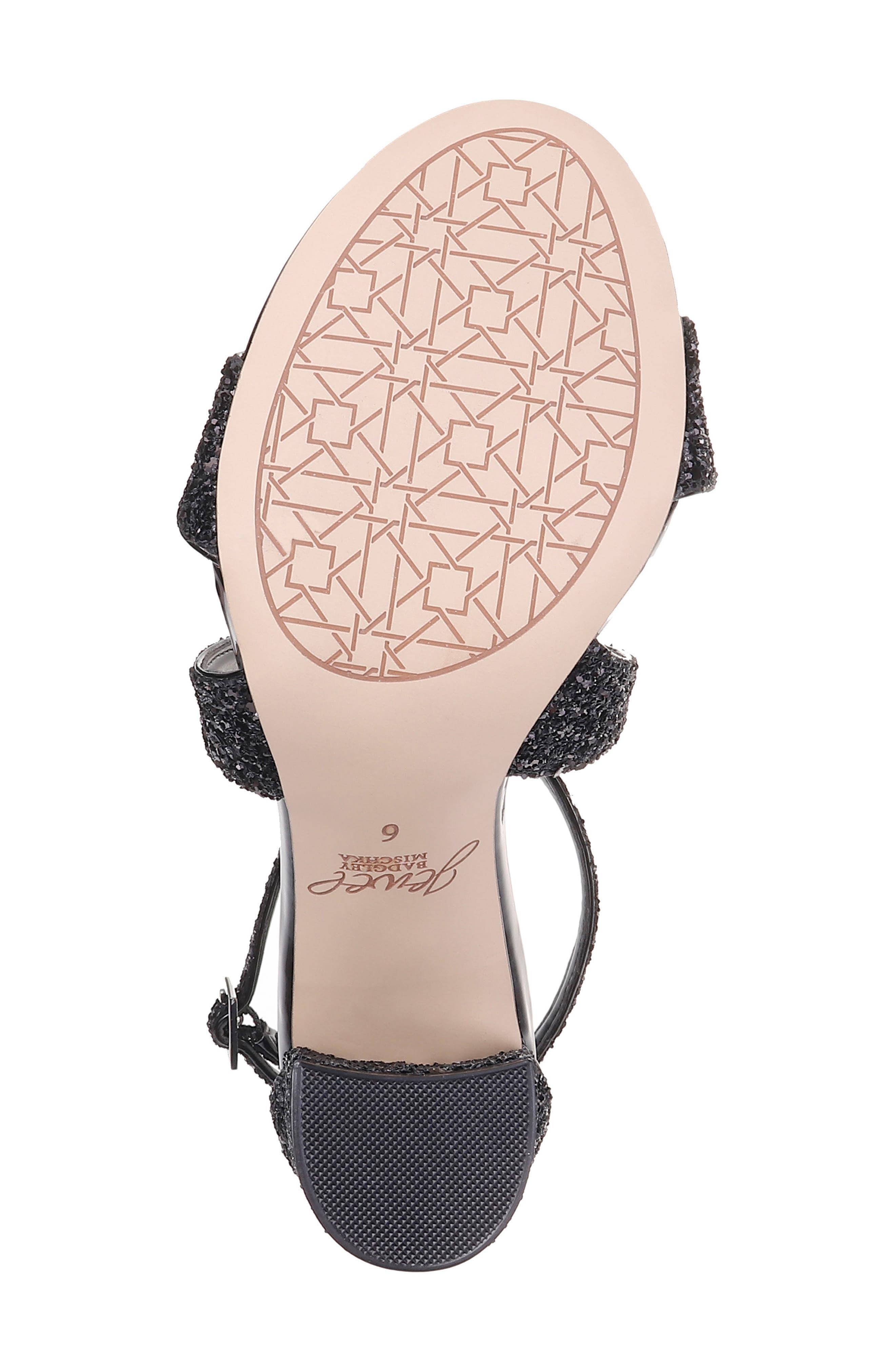 Cook Block Heel Glitter Sandal,                             Alternate thumbnail 6, color,                             BLACK LEATHER