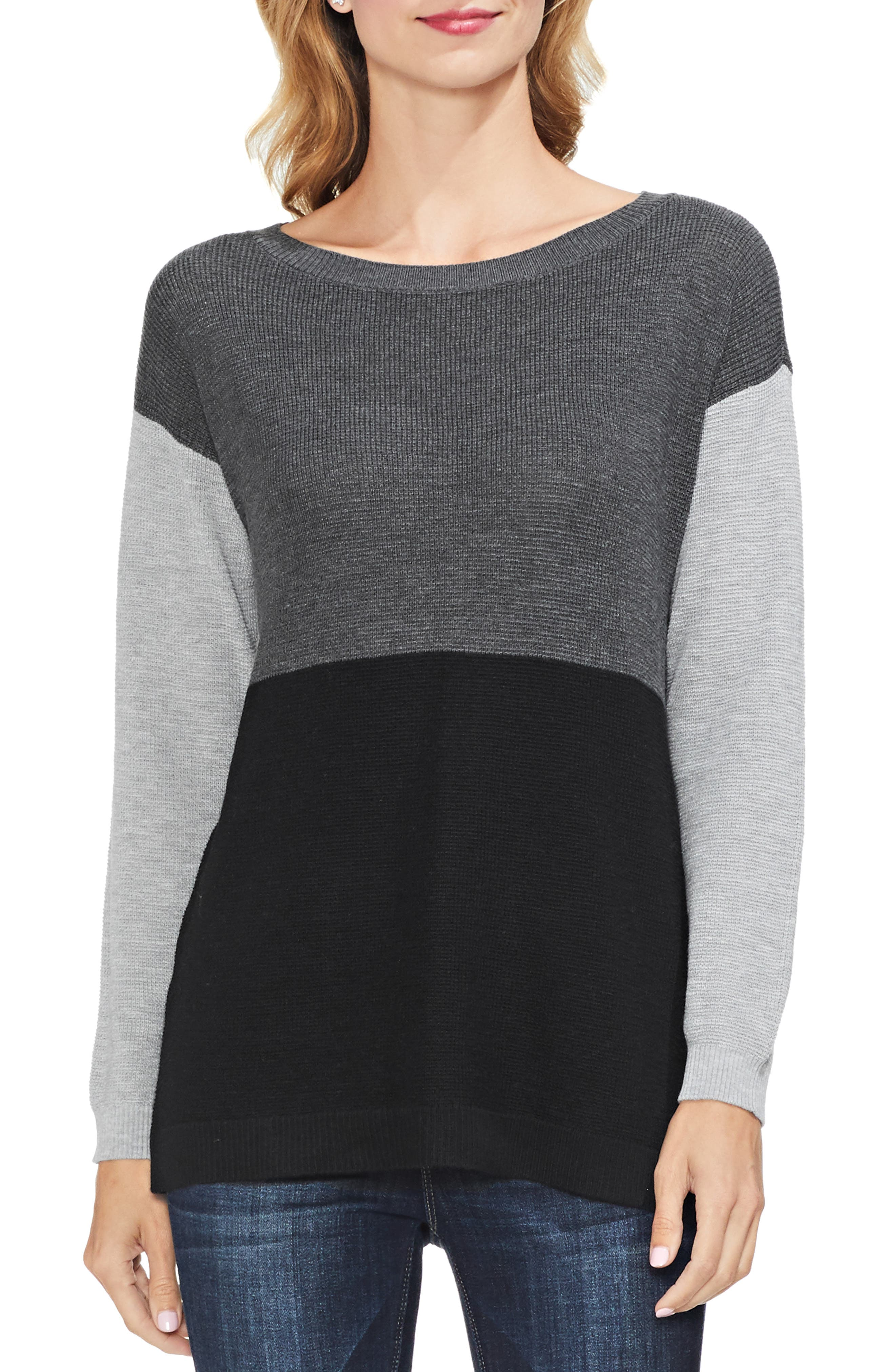 Colorblock Sweater,                         Main,                         color, MED HEATHER GREY