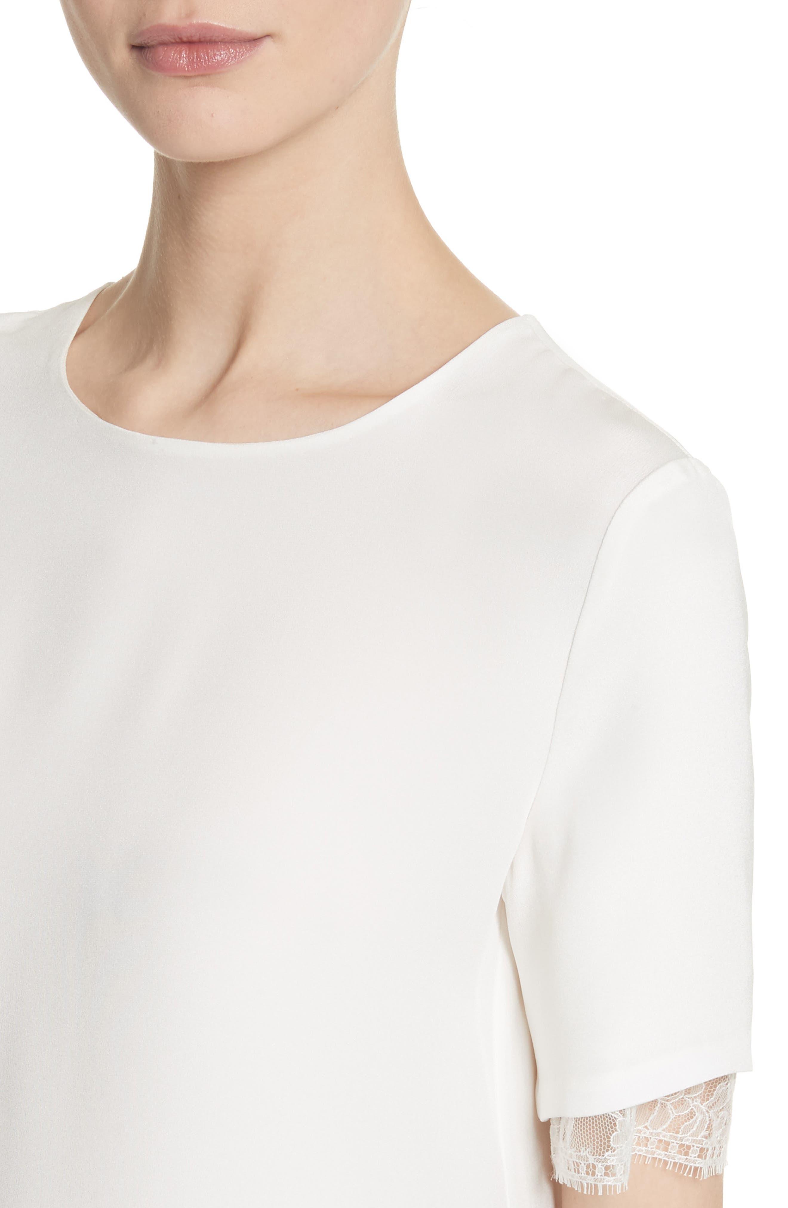 Lace Trim Silk Crepe Blouse,                             Alternate thumbnail 4, color,                             903