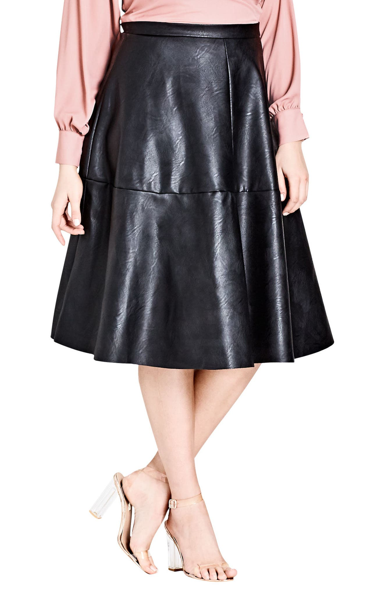 Faux Leather Skirt,                         Main,                         color,