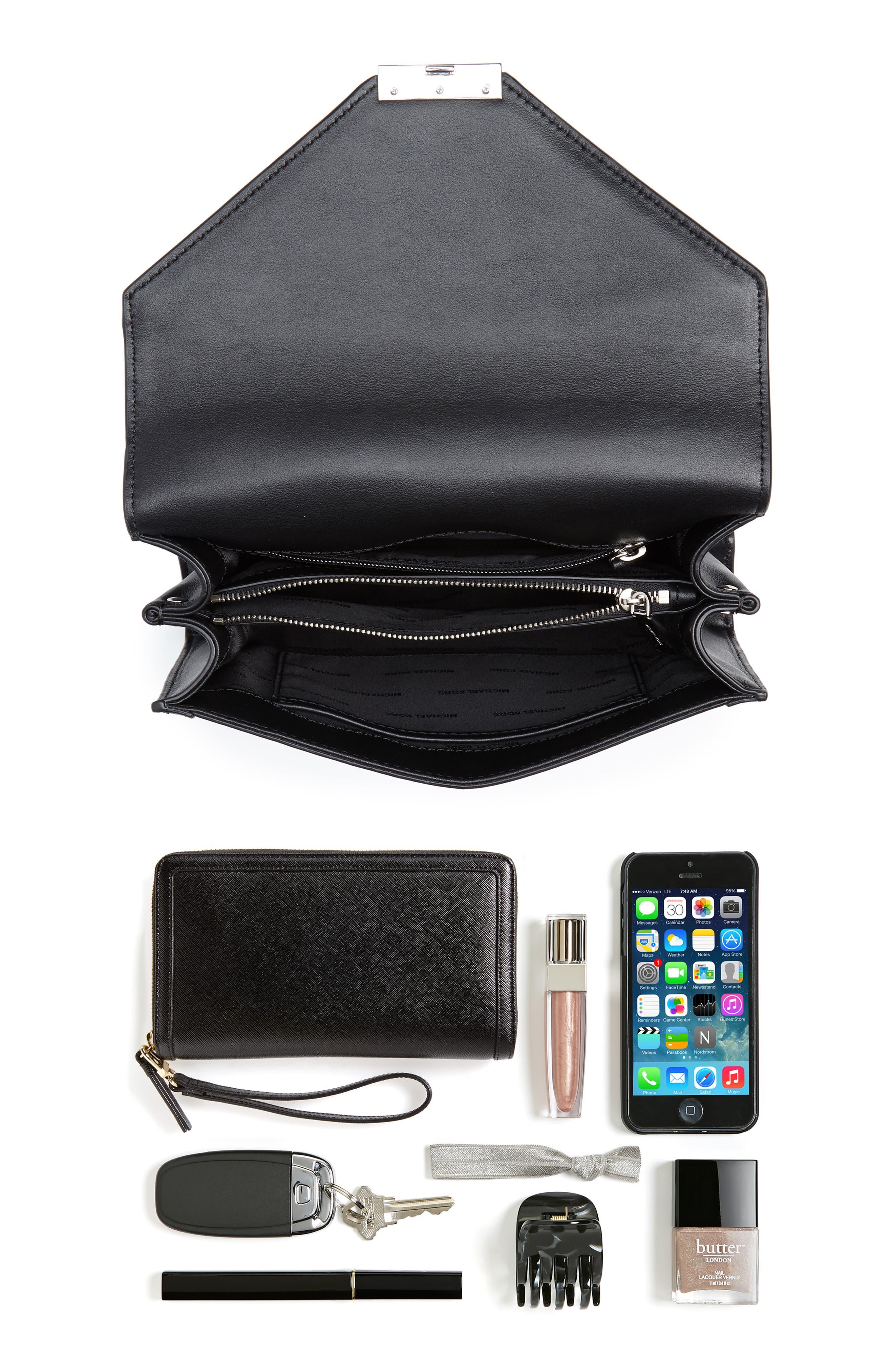 Large Whitney Leather Shoulder Bag,                             Alternate thumbnail 7, color,                             BLACK