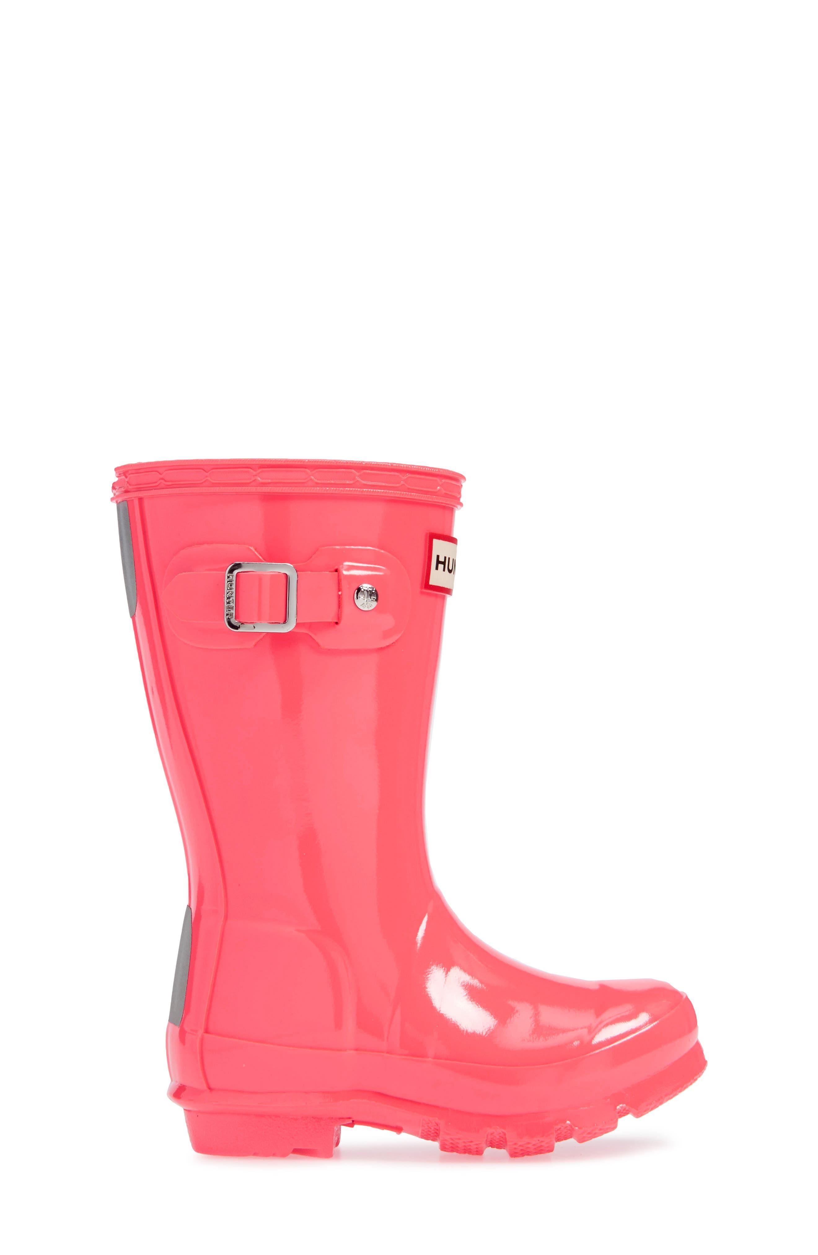 Original Gloss Rain Boot,                             Alternate thumbnail 3, color,                             HYPER PINK