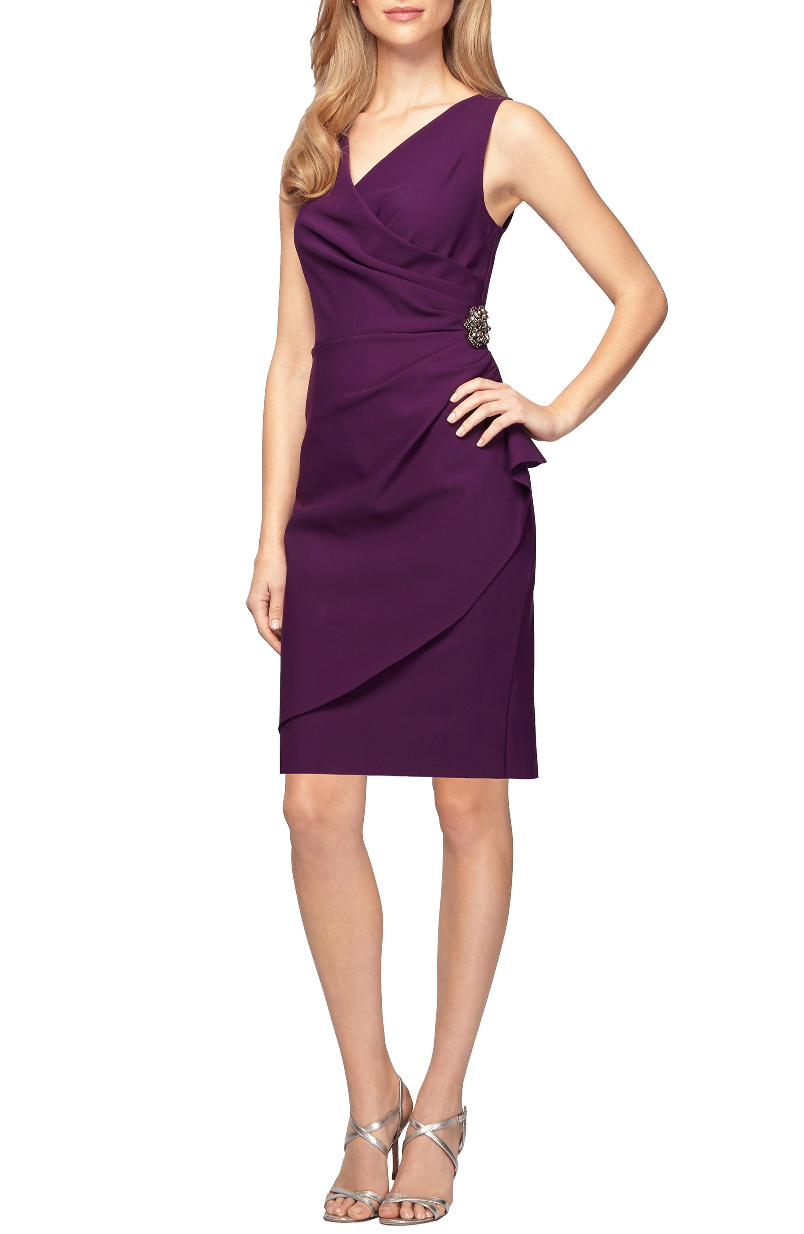 Alex Evenings Side Ruched Dress, Purple