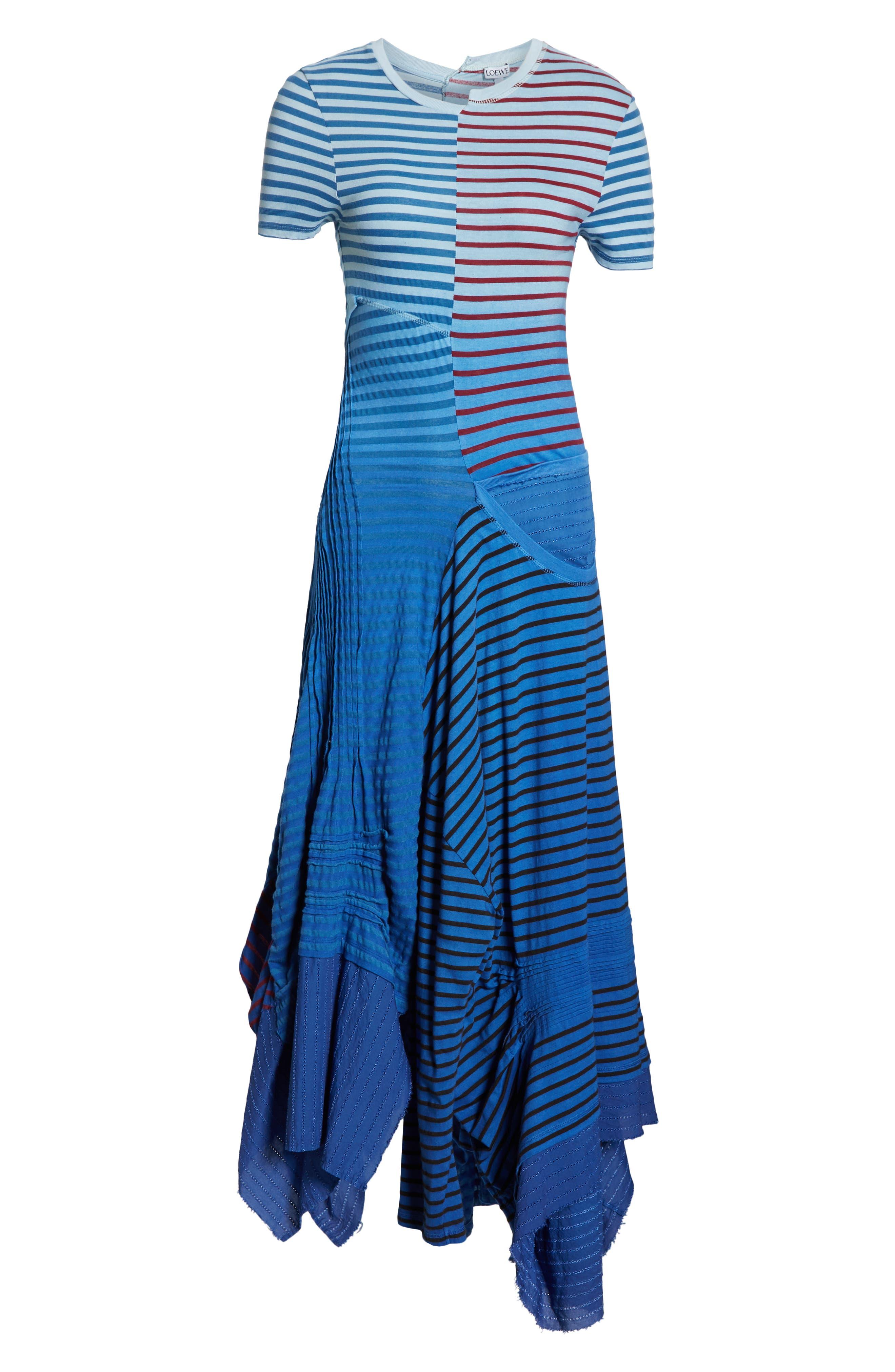LOEWE,                             Stripe Tie Dye Asymmetrical Dress,                             Alternate thumbnail 6, color,                             5100 BLUE