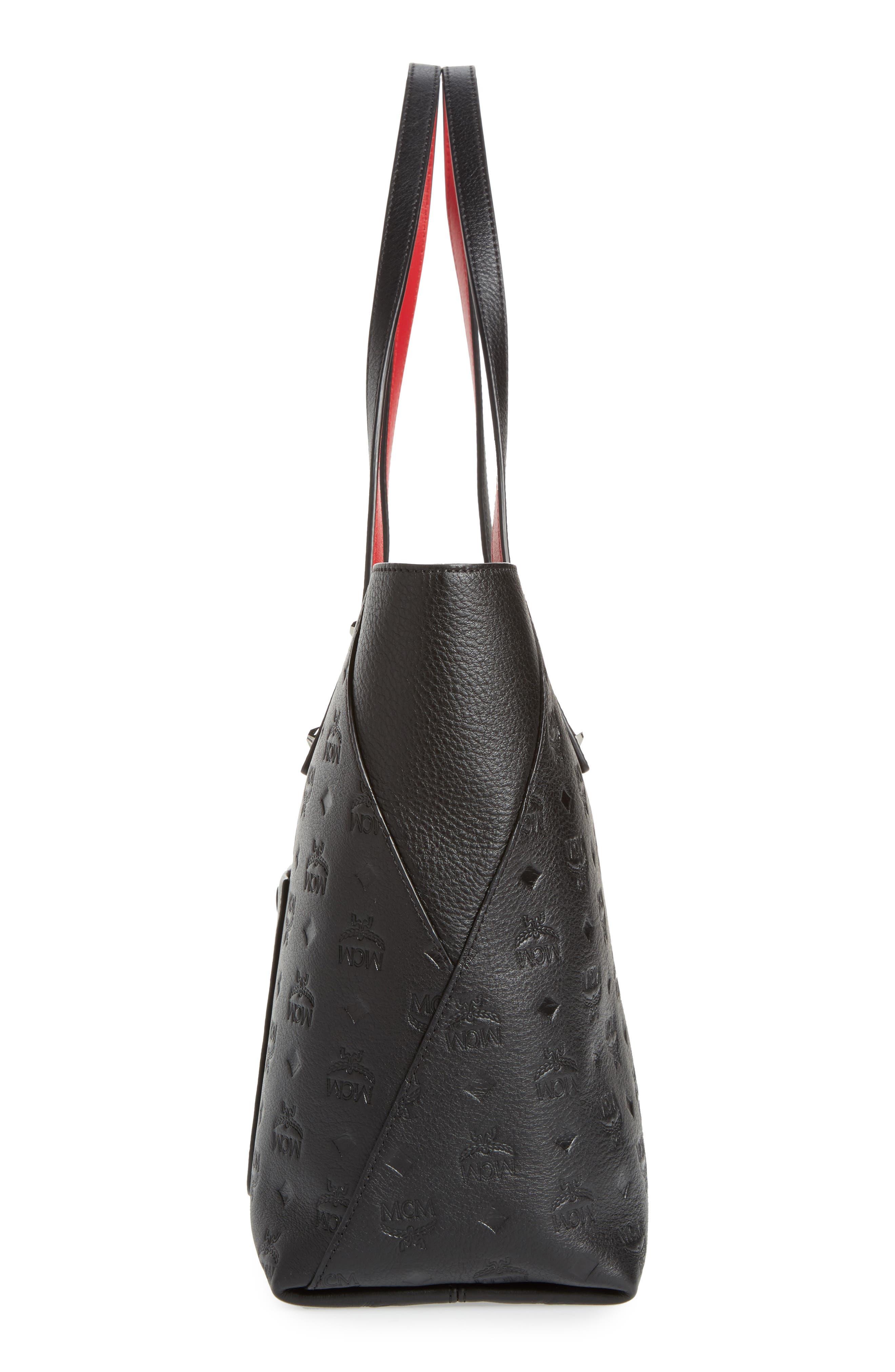 MCM,                             Klara Monogrammed Leather Shopper,                             Alternate thumbnail 5, color,                             001