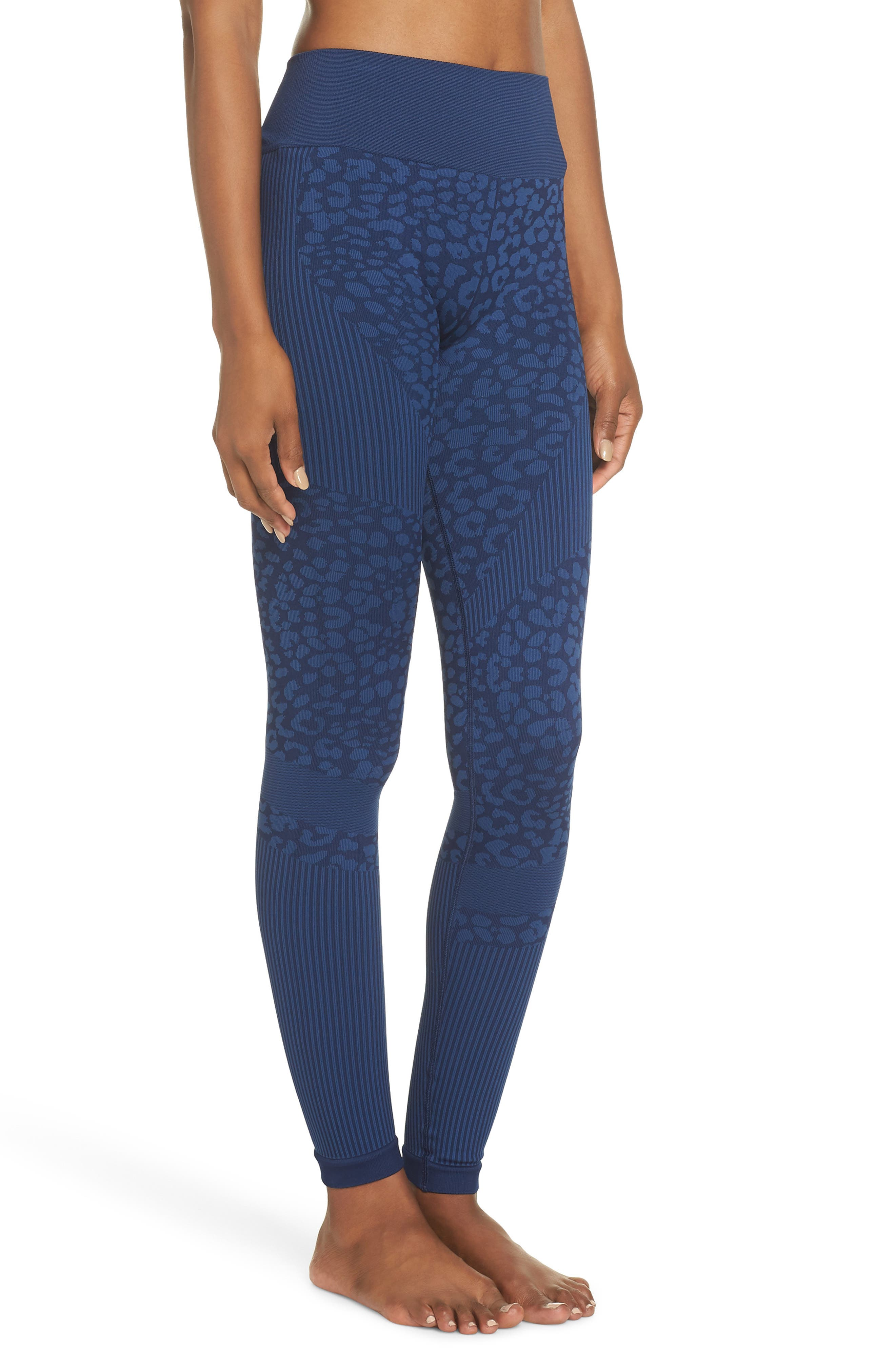 Quincy Seamless Leggings,                             Alternate thumbnail 3, color,                             NAVY LEOPARD