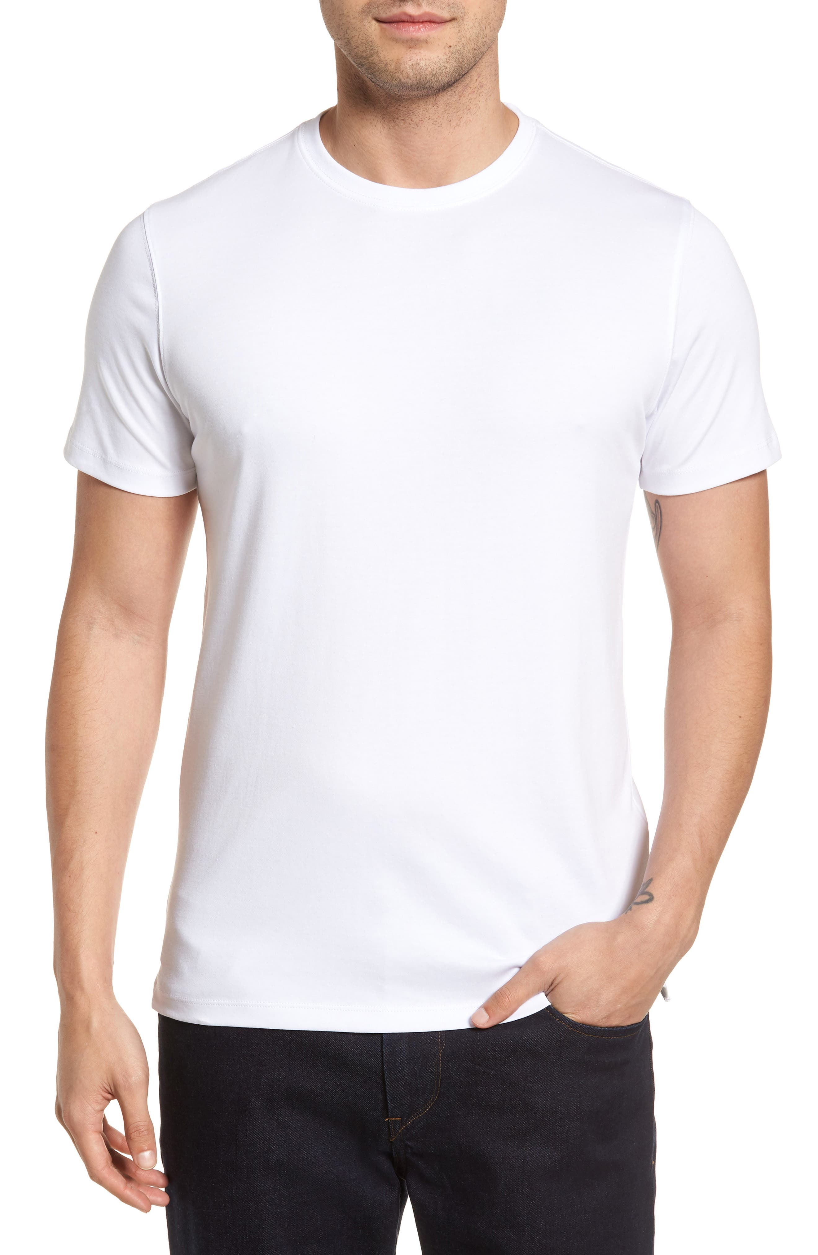 'Georgia' Crewneck T-Shirt,                             Main thumbnail 1, color,                             WHI