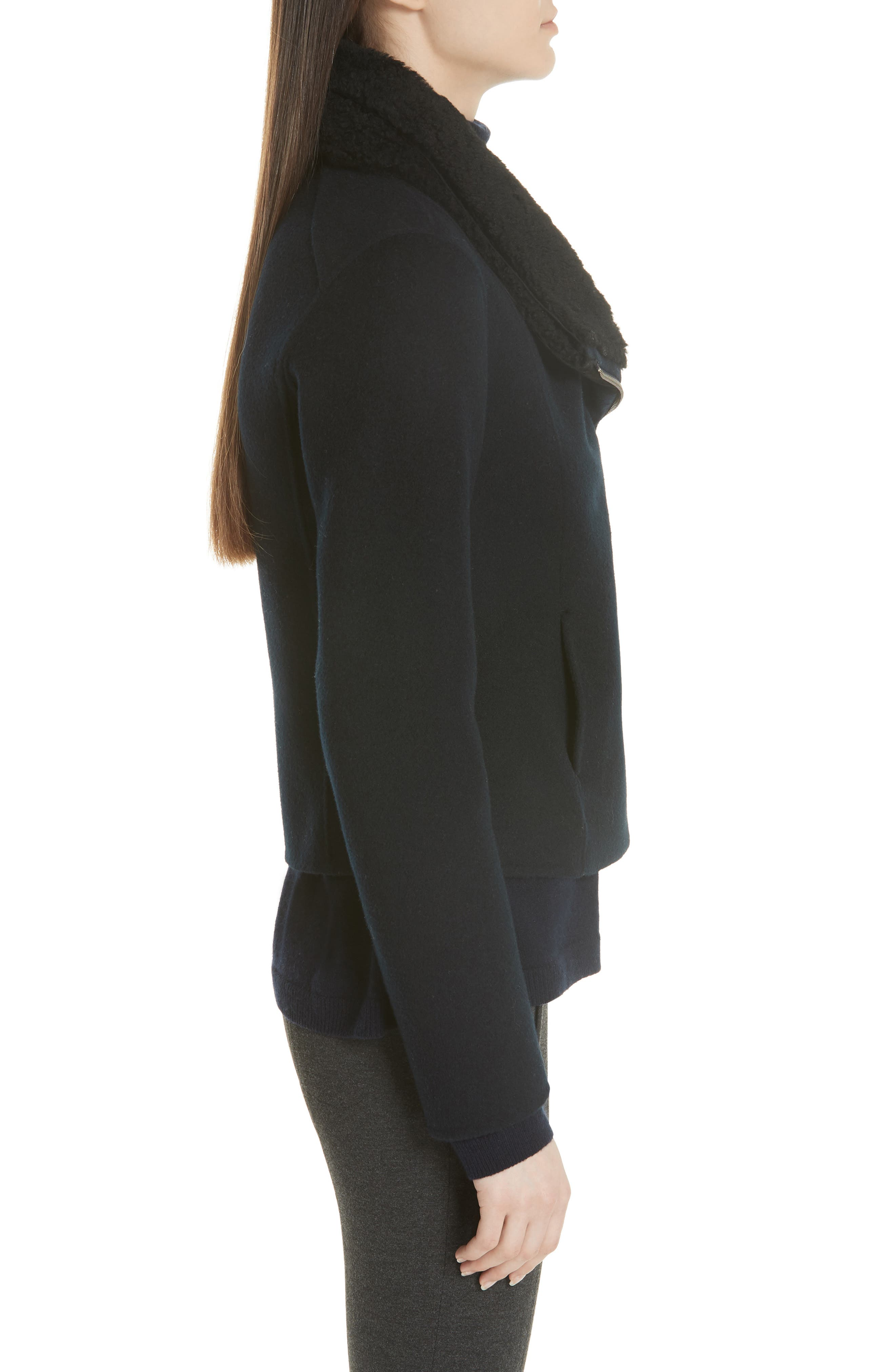 Double Face Genuine Shearling Collar Jacket,                             Alternate thumbnail 3, color,                             COASTAL