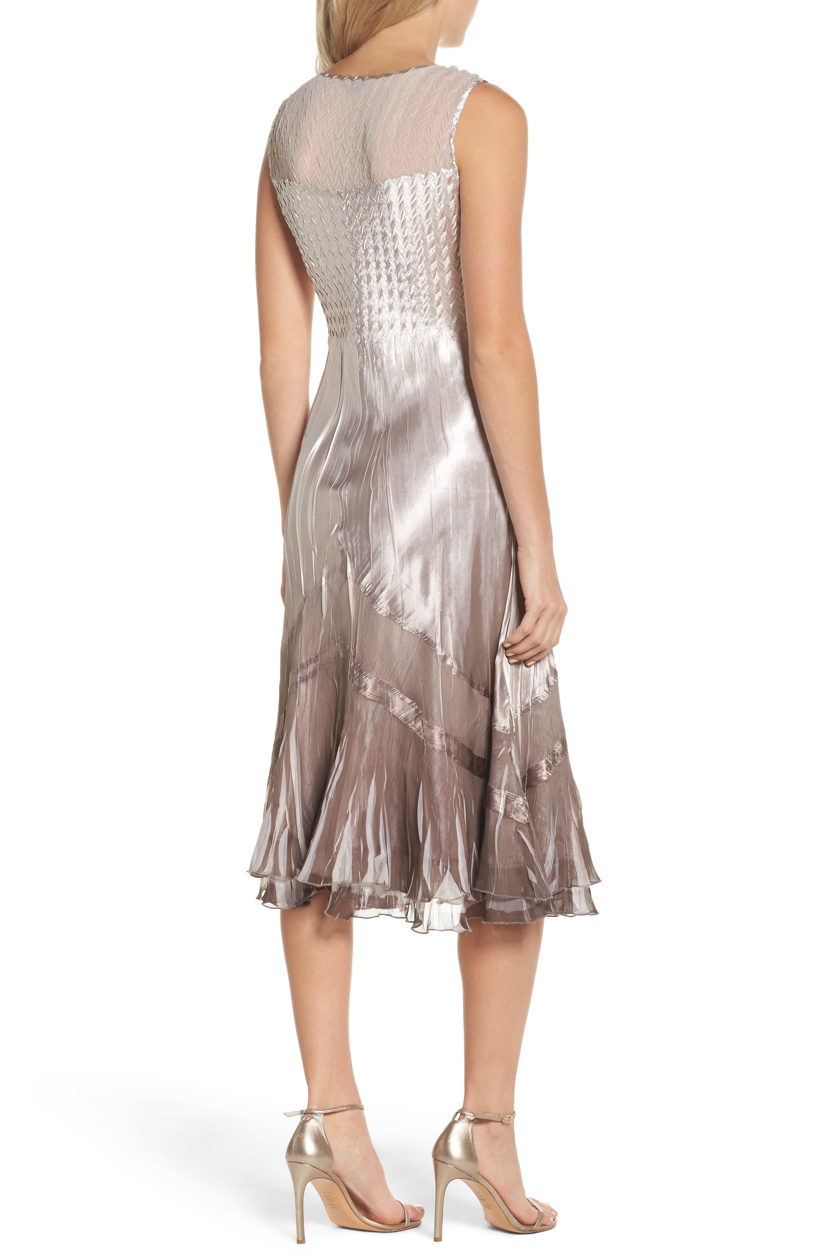 Beaded Charmeuse & Chiffon Midi Dress with Jacket,                             Alternate thumbnail 4, color,                             057