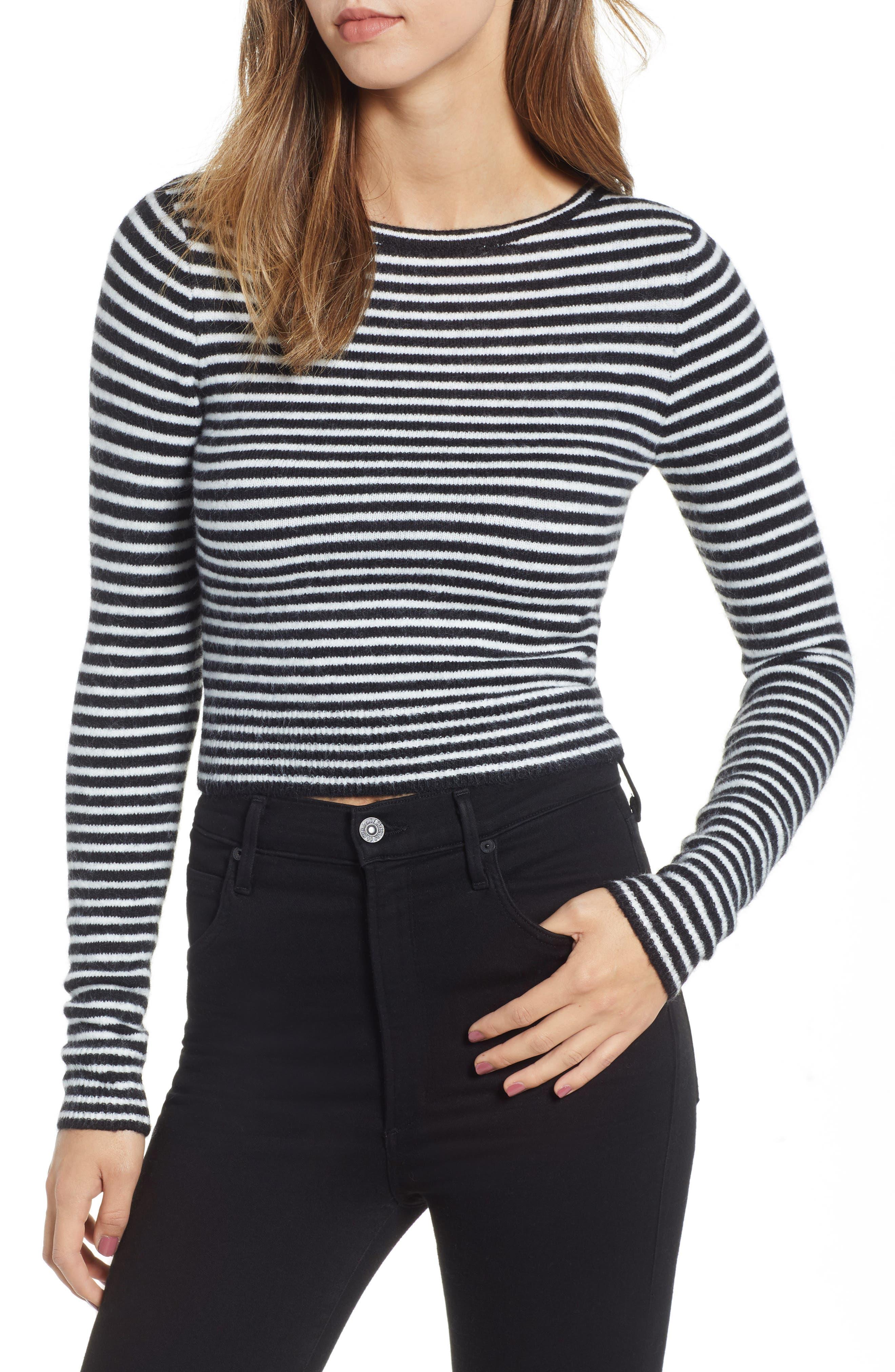 AMUSE SOCIETY Nova Stripe Crop Sweater in Black
