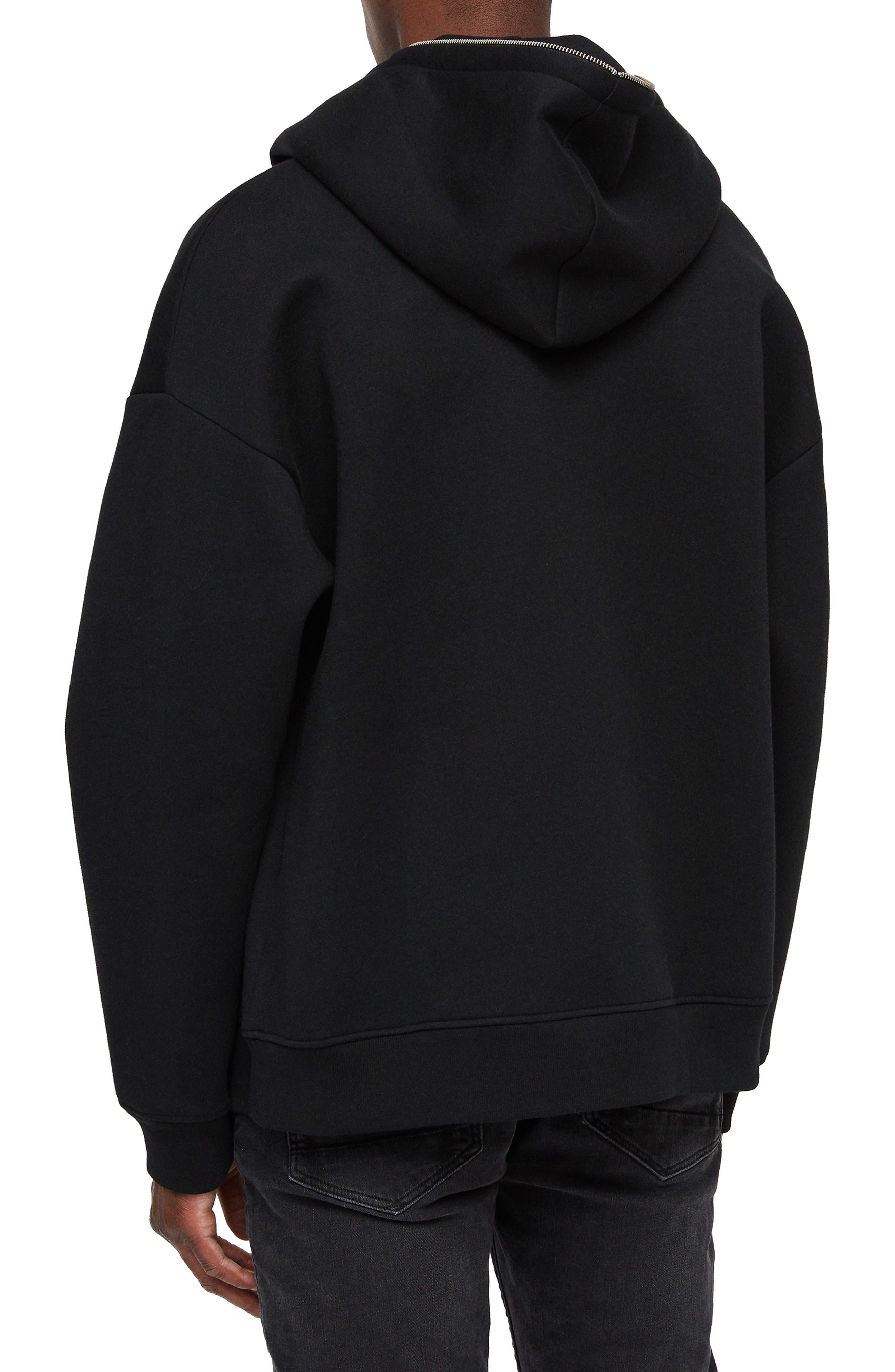 Hibard Regular Fit Zip Hoodie,                             Alternate thumbnail 2, color,                             JET BLACK