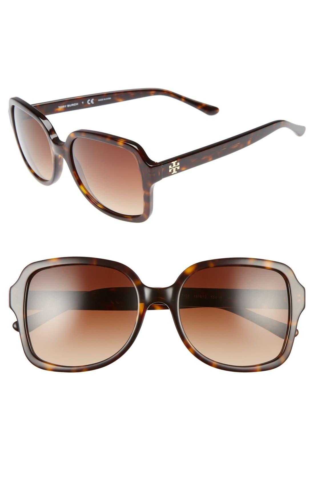 55mm Square Sunglasses,                             Main thumbnail 1, color,                             DARK TORTOISE
