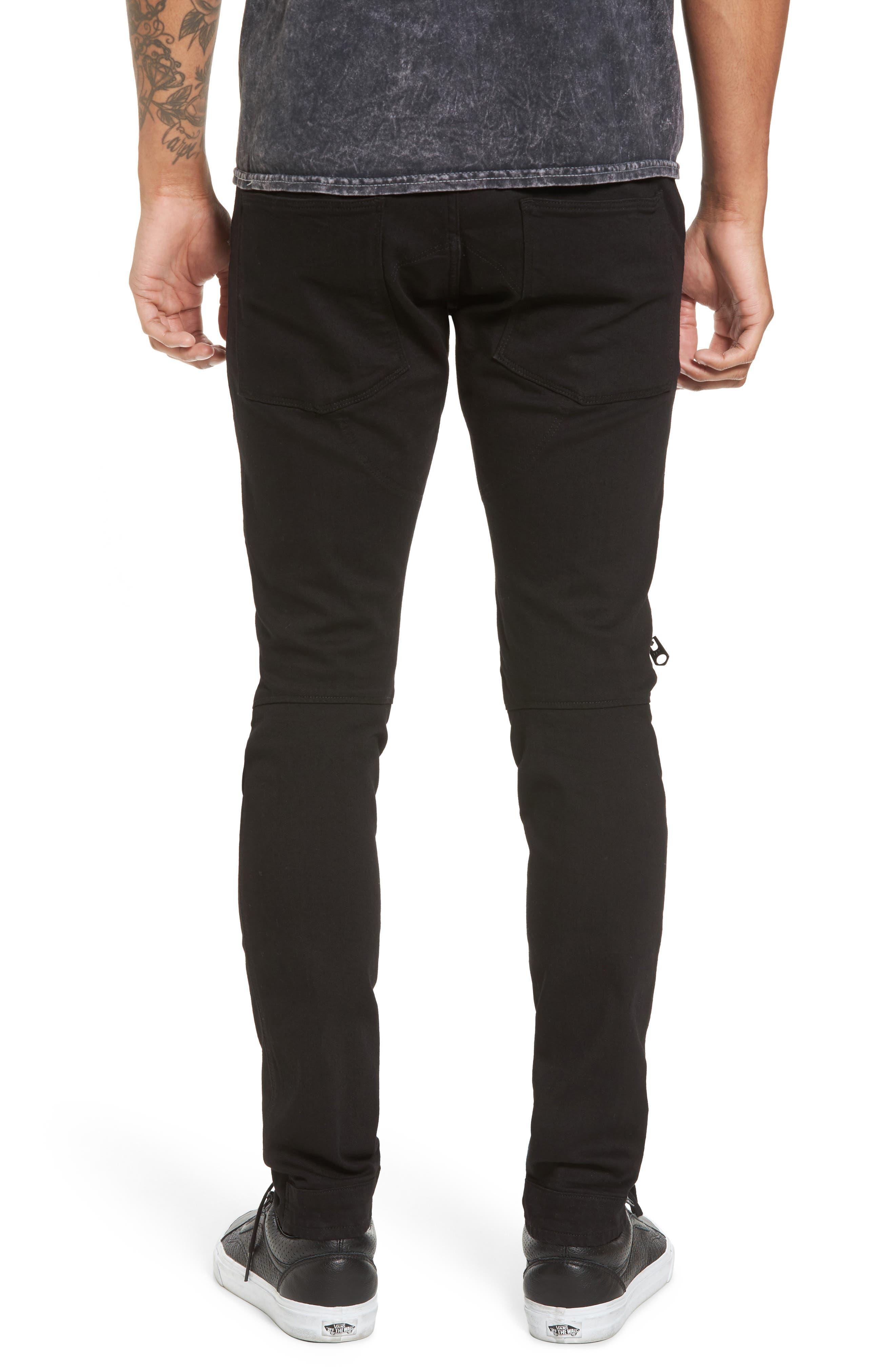 3D Zip Knee Super Slim Pants,                             Alternate thumbnail 2, color,                             001