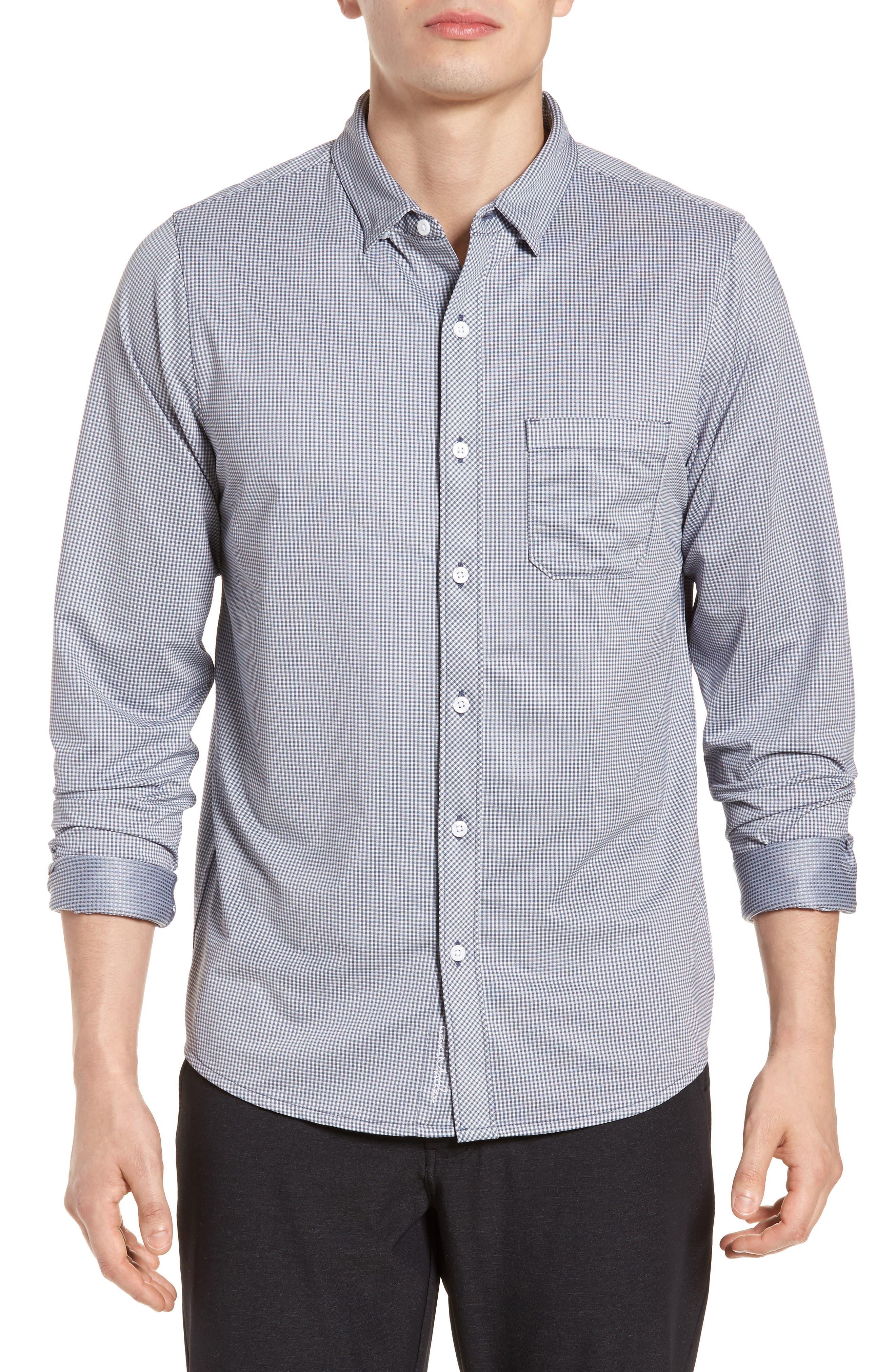 TRAVIS MATHEW Couig Gingham Sport Shirt, Main, color, 105