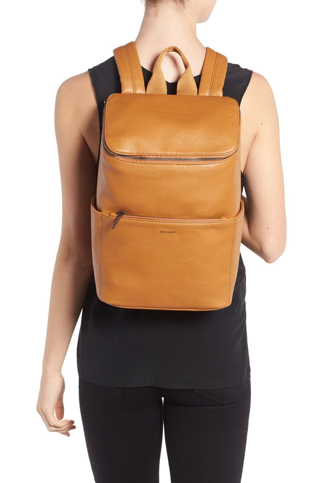 'Brave' Faux Leather Backpack,                             Alternate thumbnail 92, color,