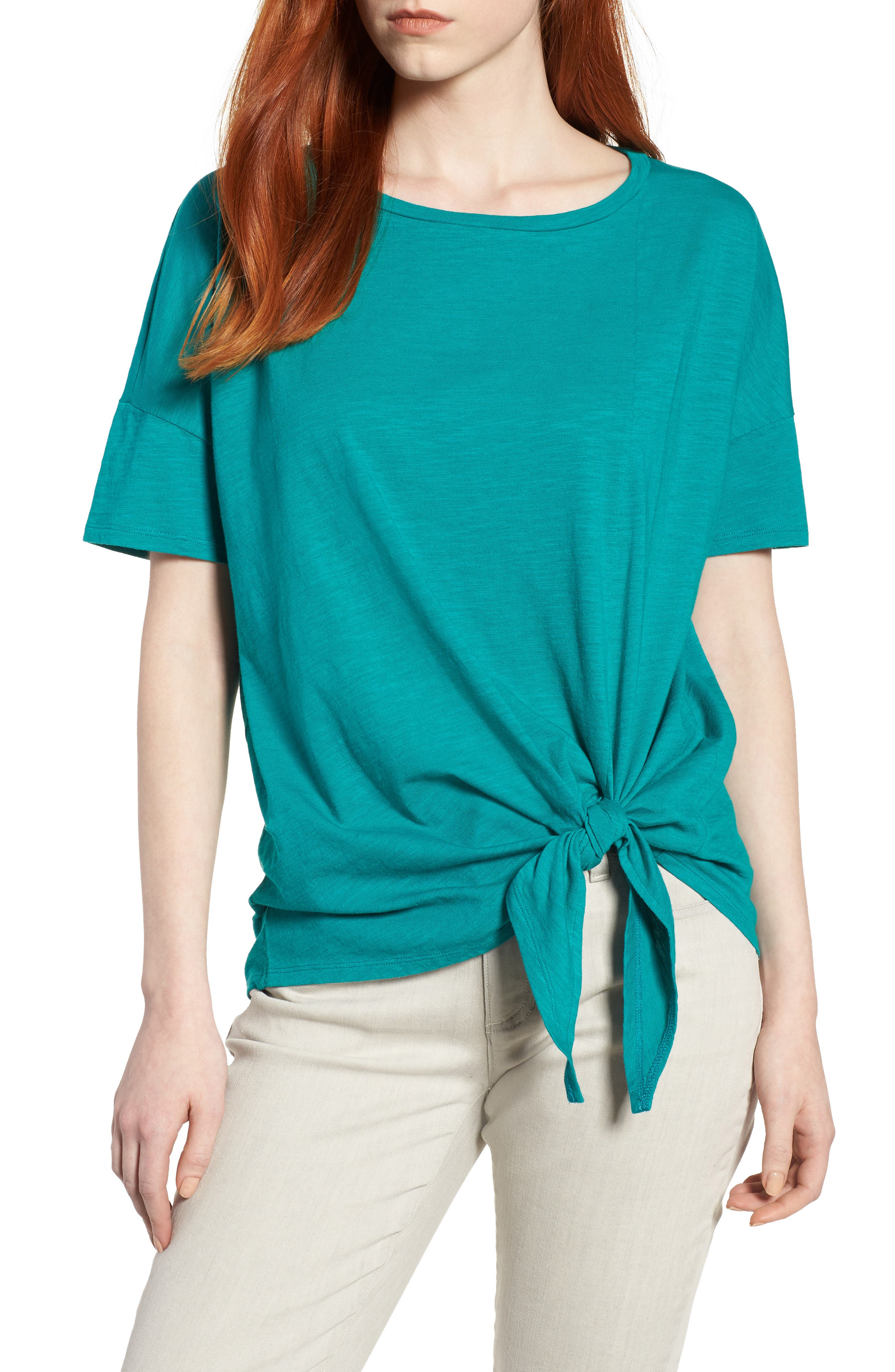 Tie Hem Organic Cotton Tee,                             Main thumbnail 4, color,