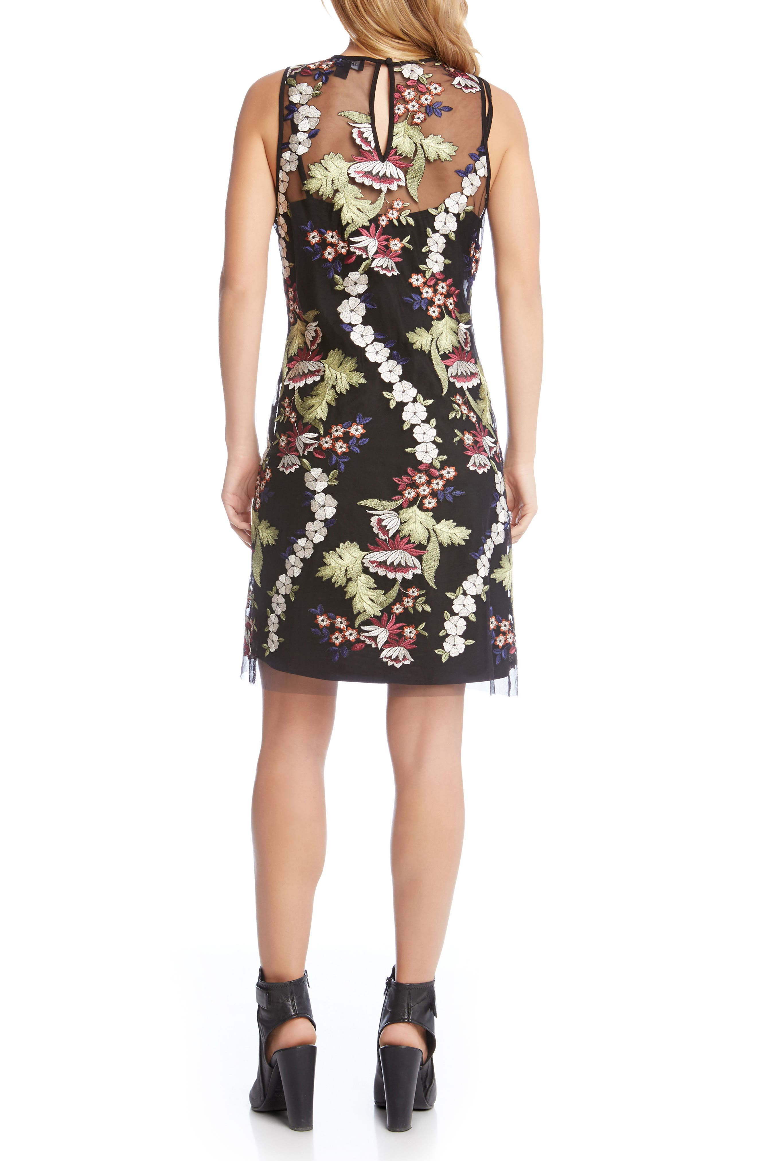 Floral Embroidery A-Line Dress,                             Alternate thumbnail 2, color,                             008