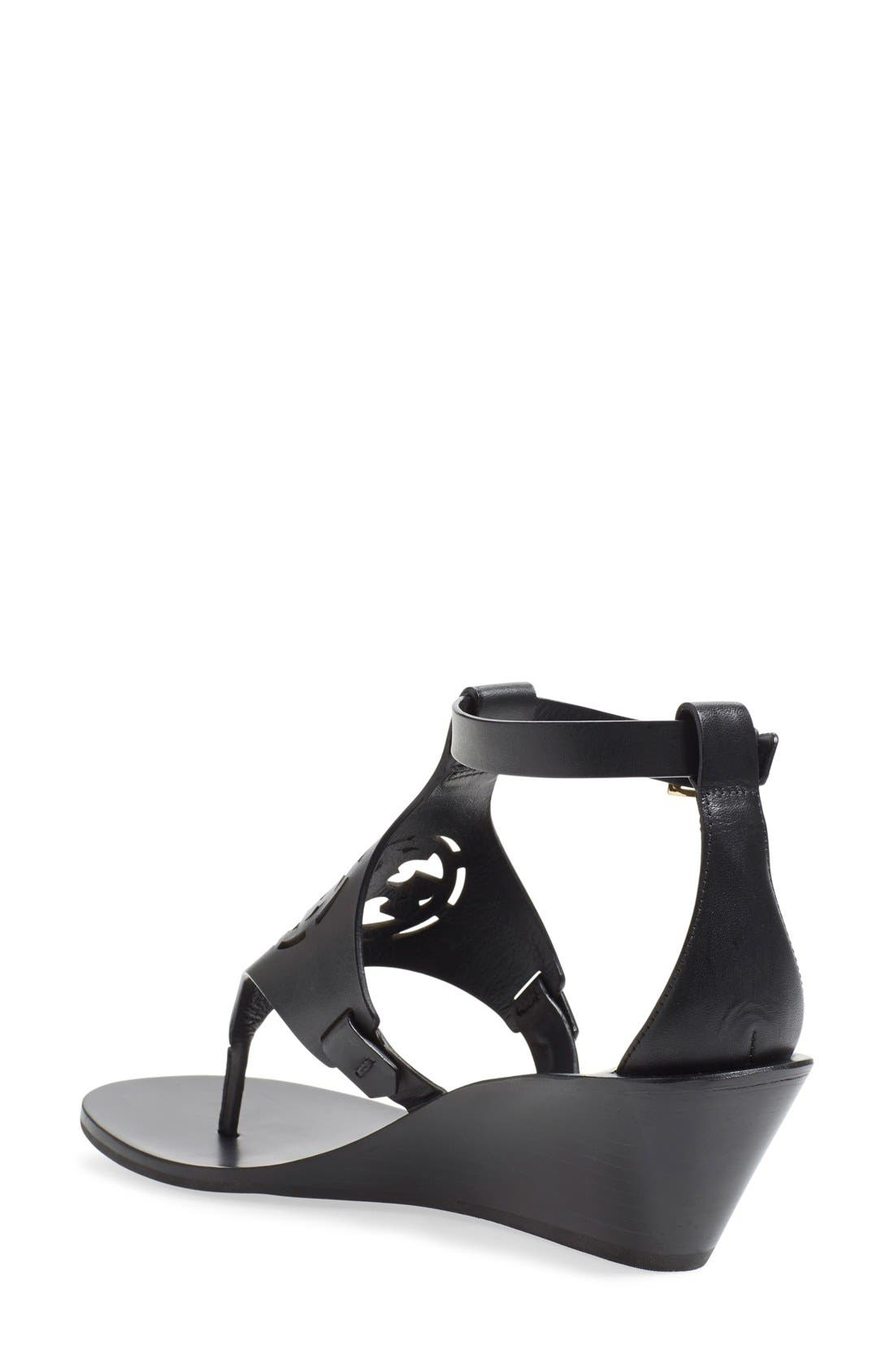 'Zoey' Wedge Sandal,                             Alternate thumbnail 4, color,                             001