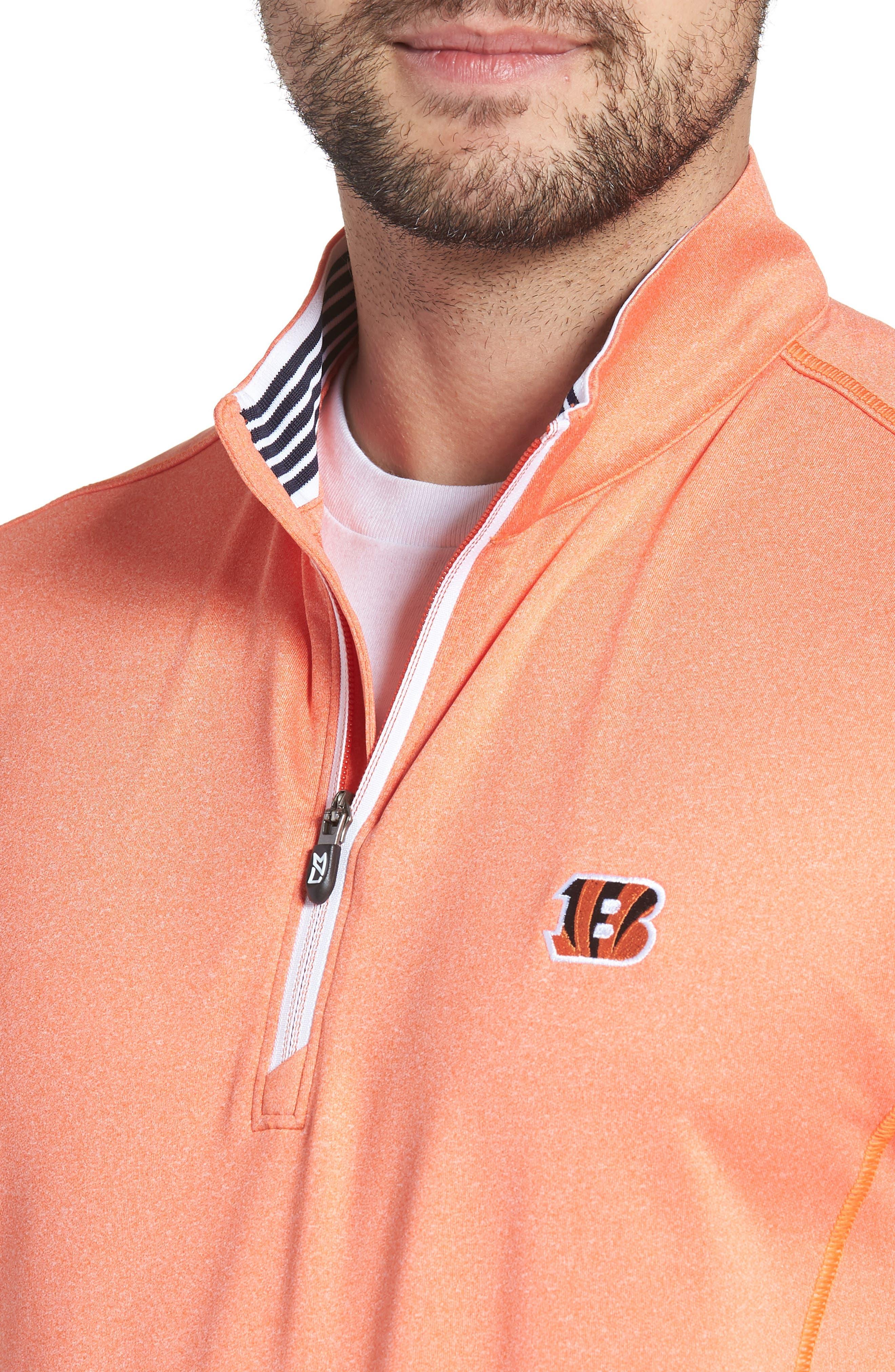 Endurance Cincinnati Bengals Regular Fit Pullover,                             Alternate thumbnail 4, color,                             COLLEGE ORANGE HEATHER