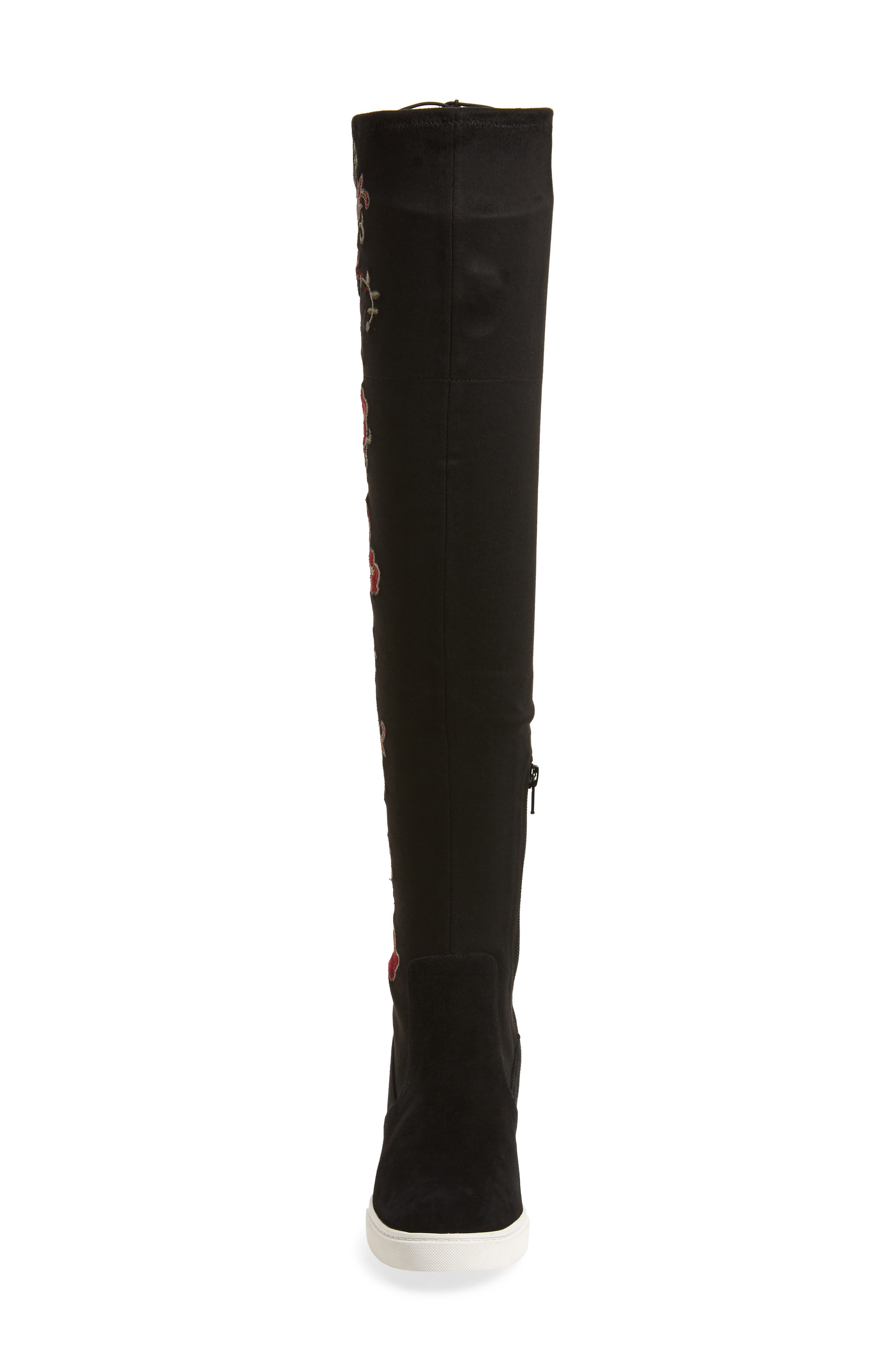 Thea Over the Knee Boot,                             Alternate thumbnail 4, color,                             BLACK EMBROIDERY FABRIC