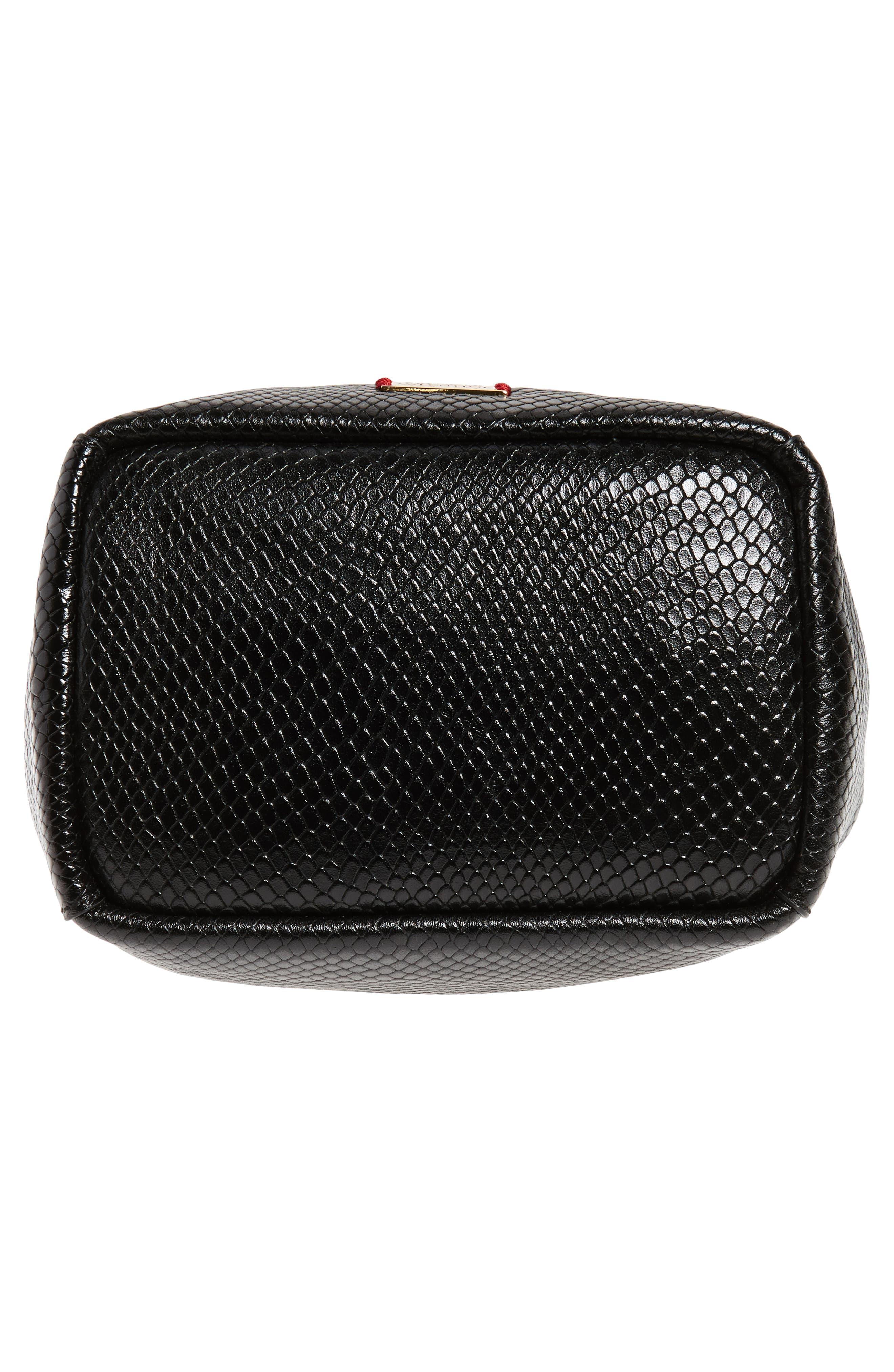 Small Snakeskin Embossed Leather Bucket Bag,                             Alternate thumbnail 6, color,                             001