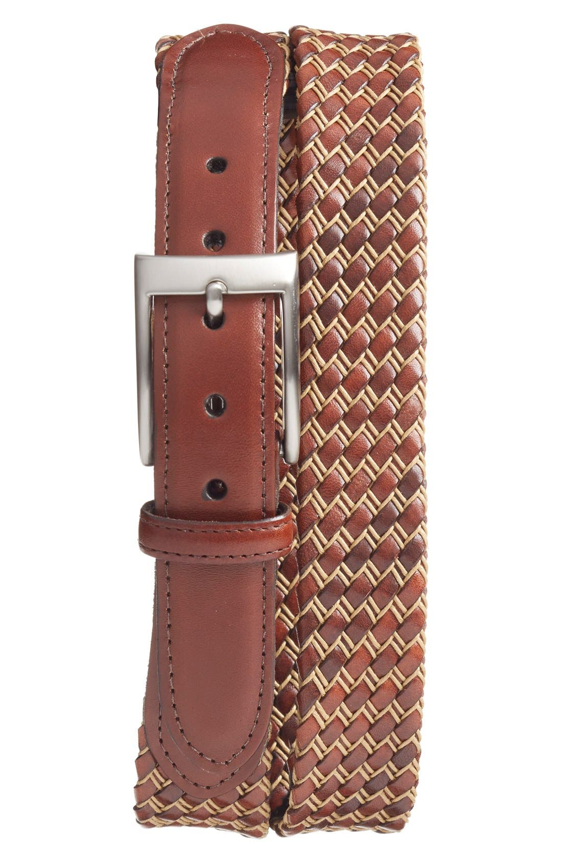 Woven Leather Belt,                             Main thumbnail 2, color,