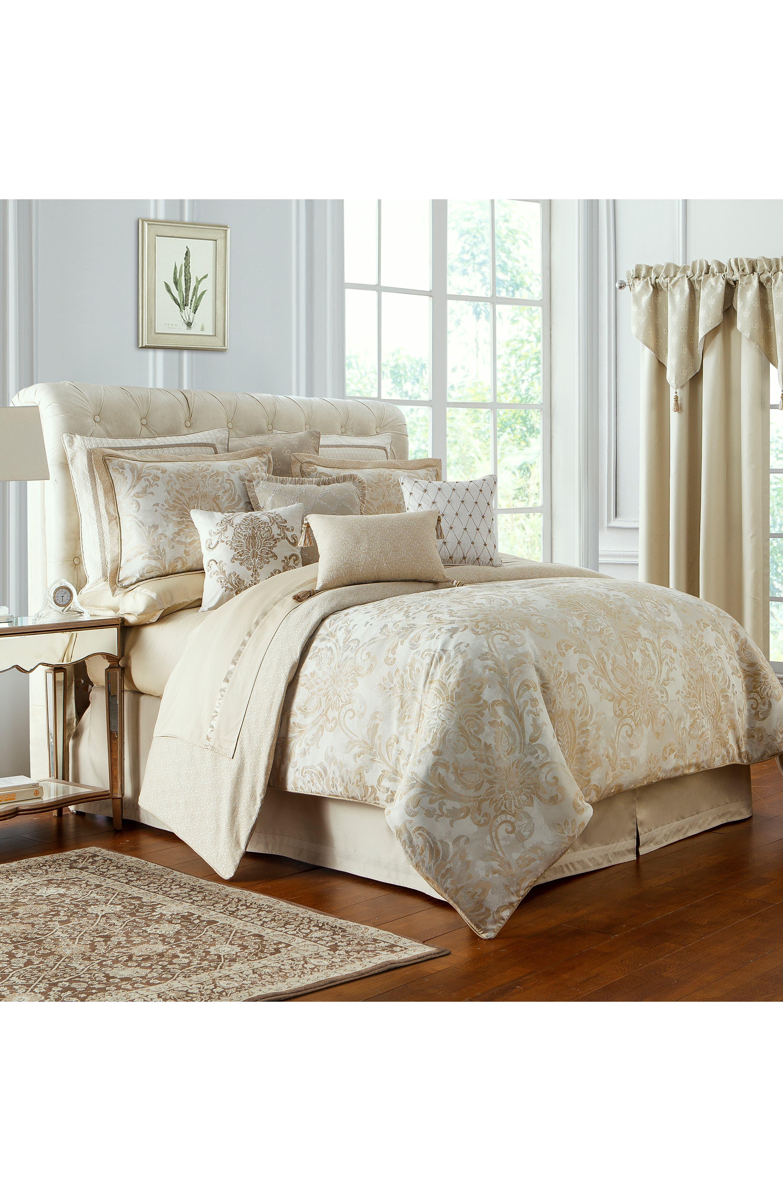 Annalise Reversible Comforter, Sham & Bed Skirt Set,                             Alternate thumbnail 9, color,                             GOLD