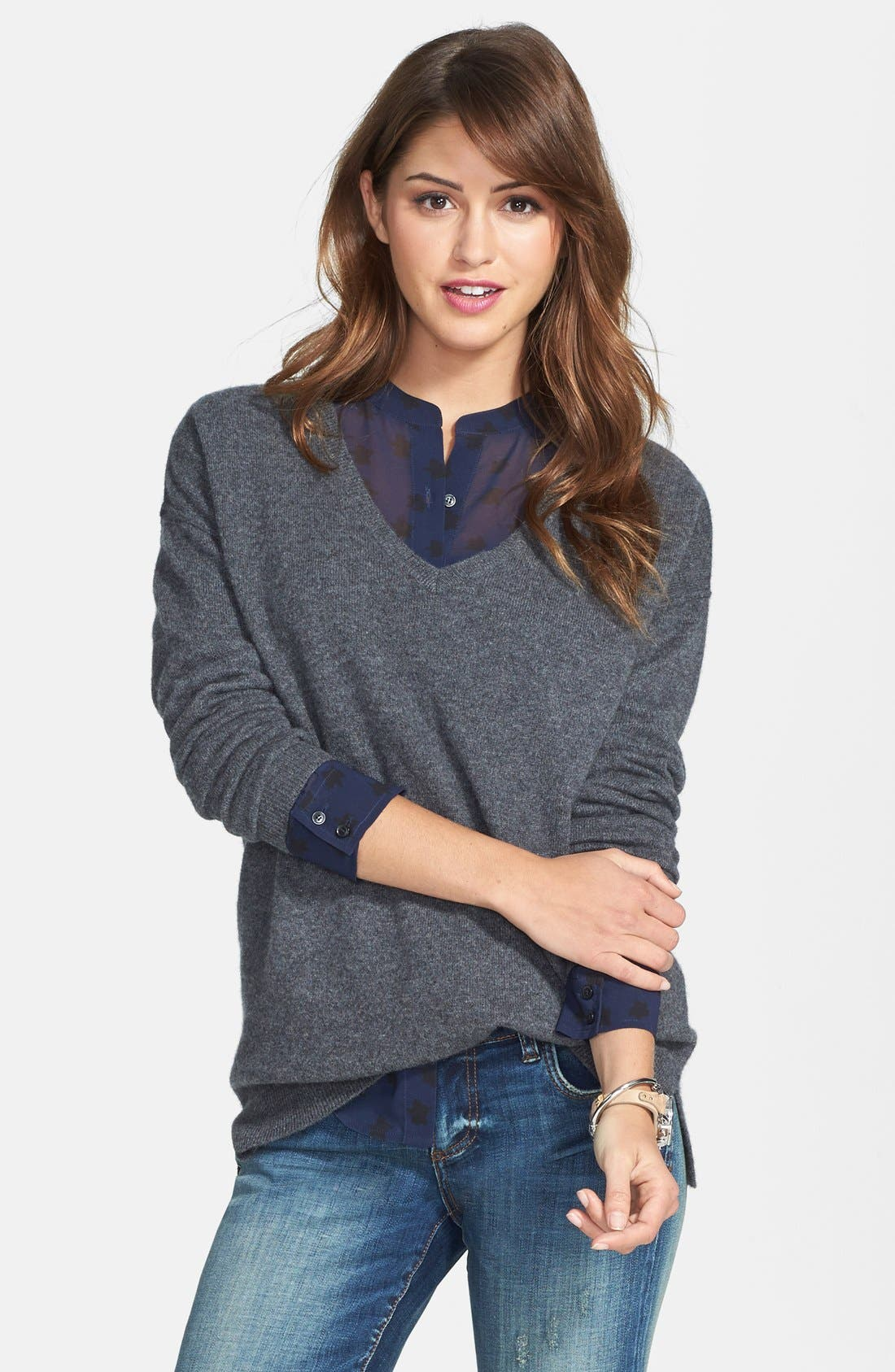 High/Low Cashmere V-Neck Tunic,                         Main,                         color, 021