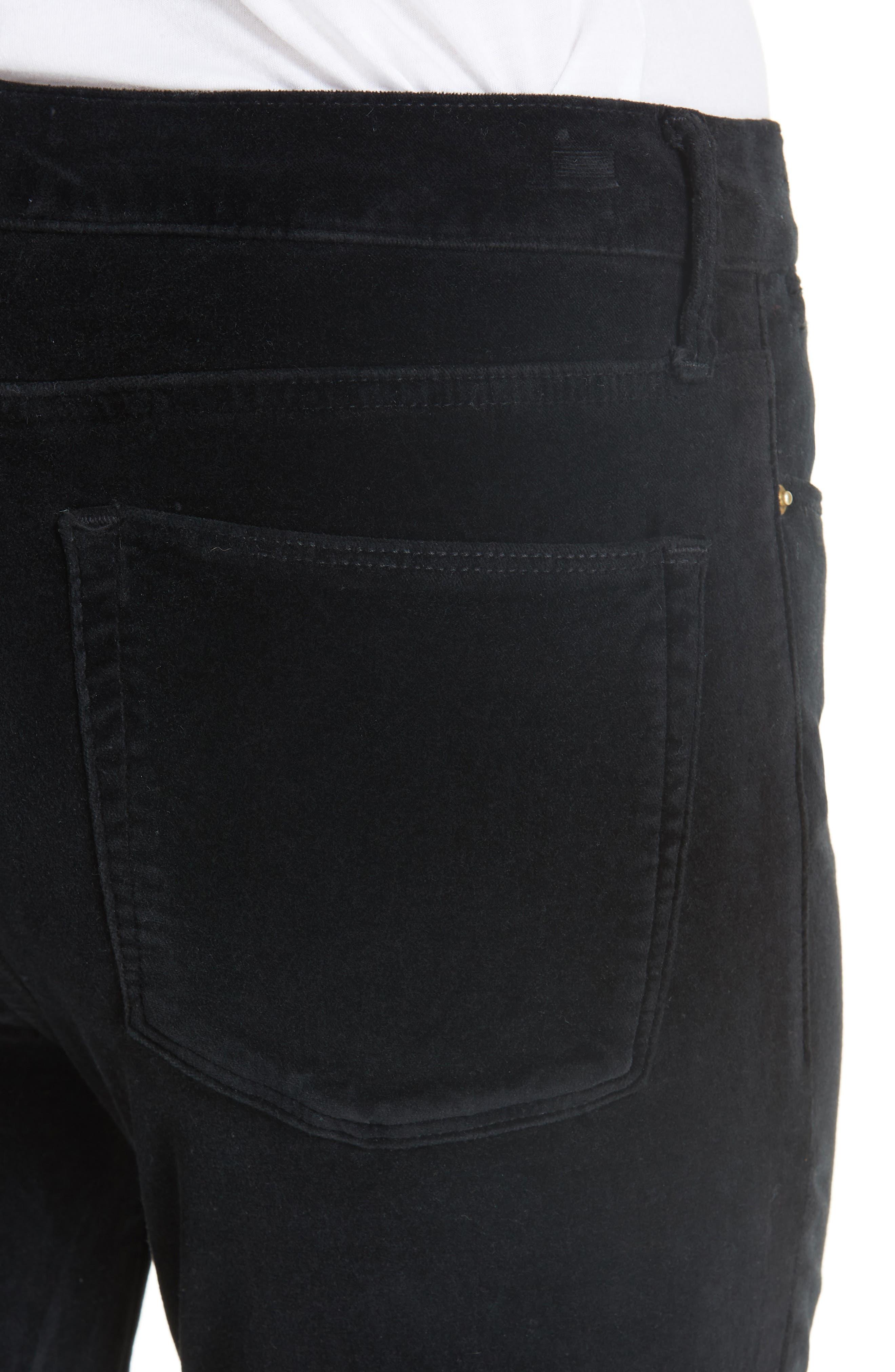 Velveteen High Waist Ankle Skinny Pants,                             Alternate thumbnail 4, color,                             NOIR